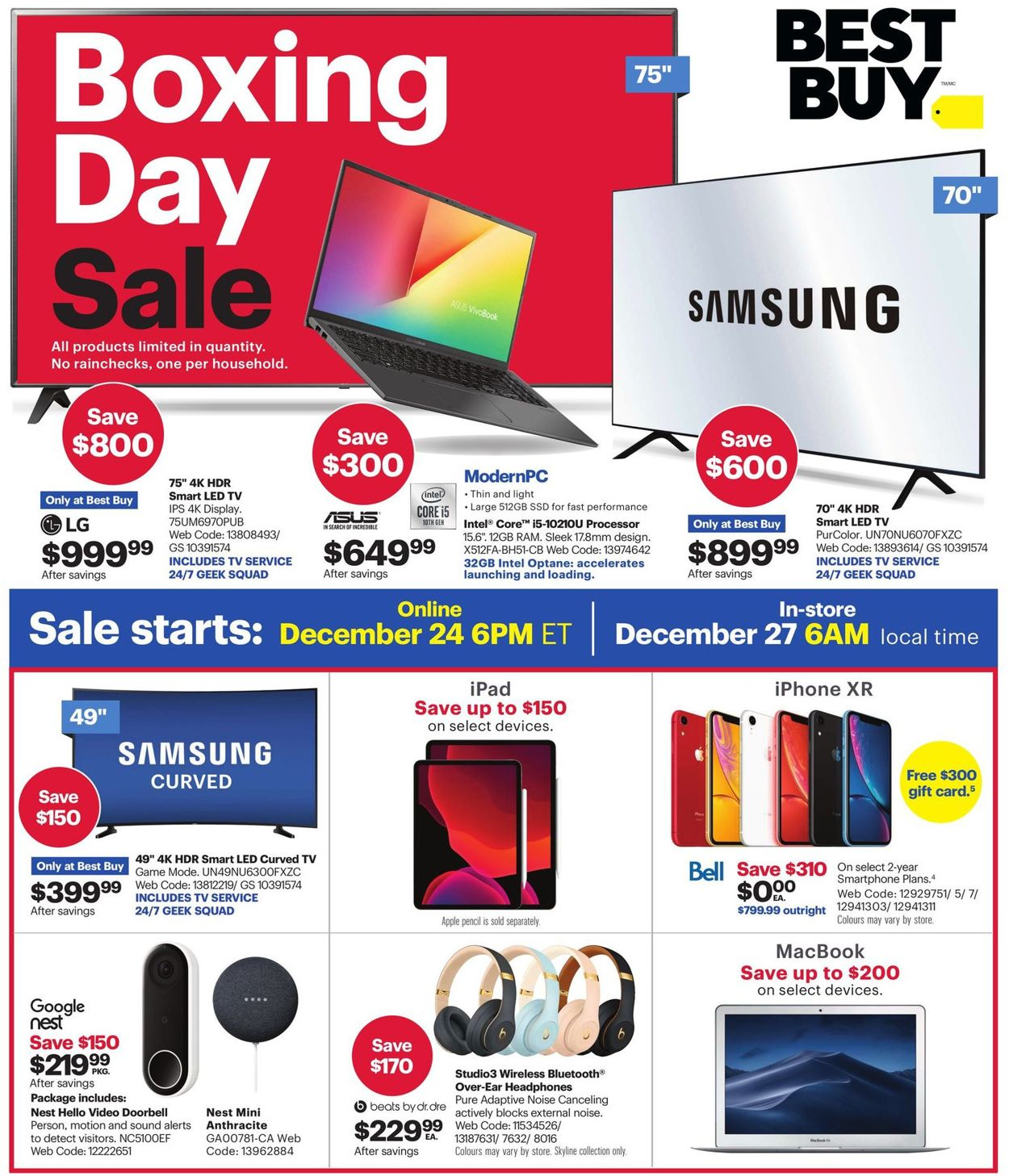 Best Buy Boxing Day 2019 Flyer - 12/24-01/02/2020