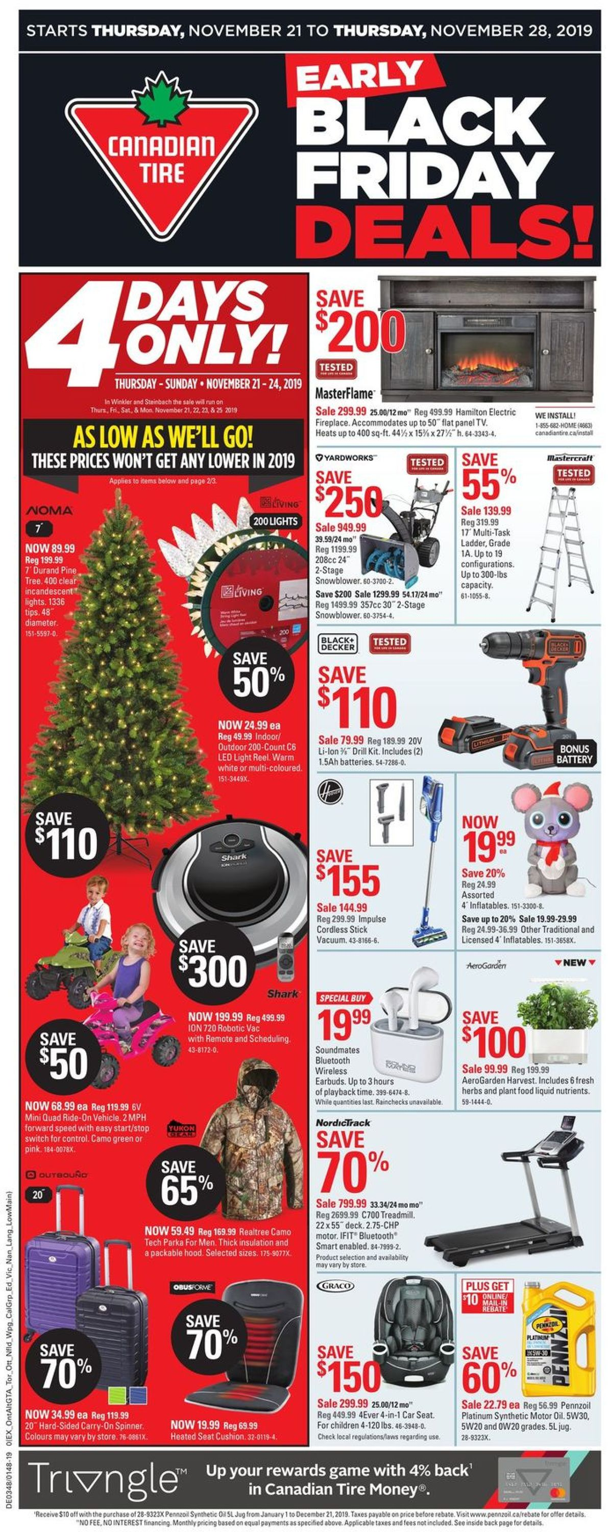 Canadian Tire EARLY BLACK FRIDAY DEALS 2019 Flyer - 11/21-11/28/2019