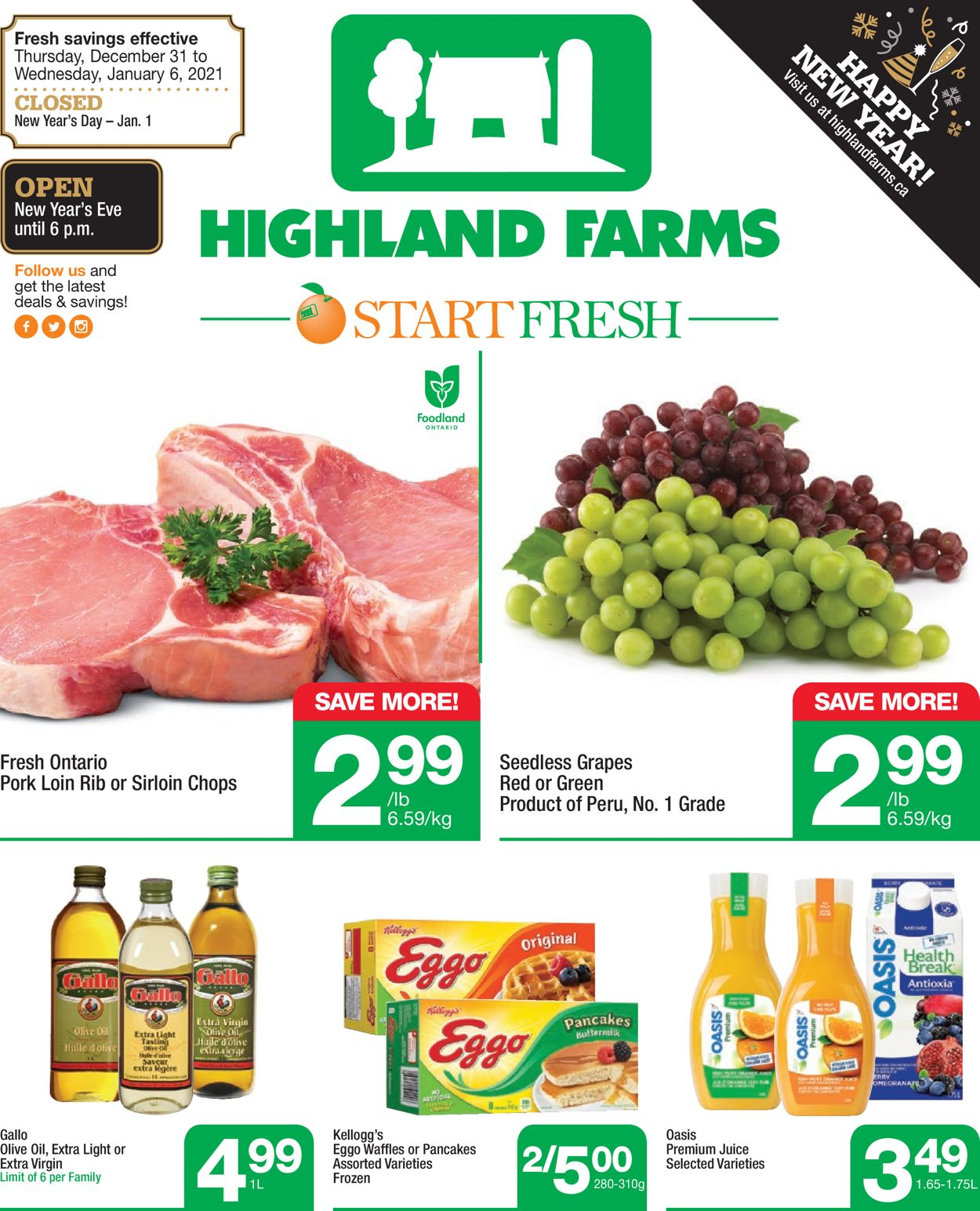 Highland Farms - New Year 2021 Flyer - 12/31-01/06/2021