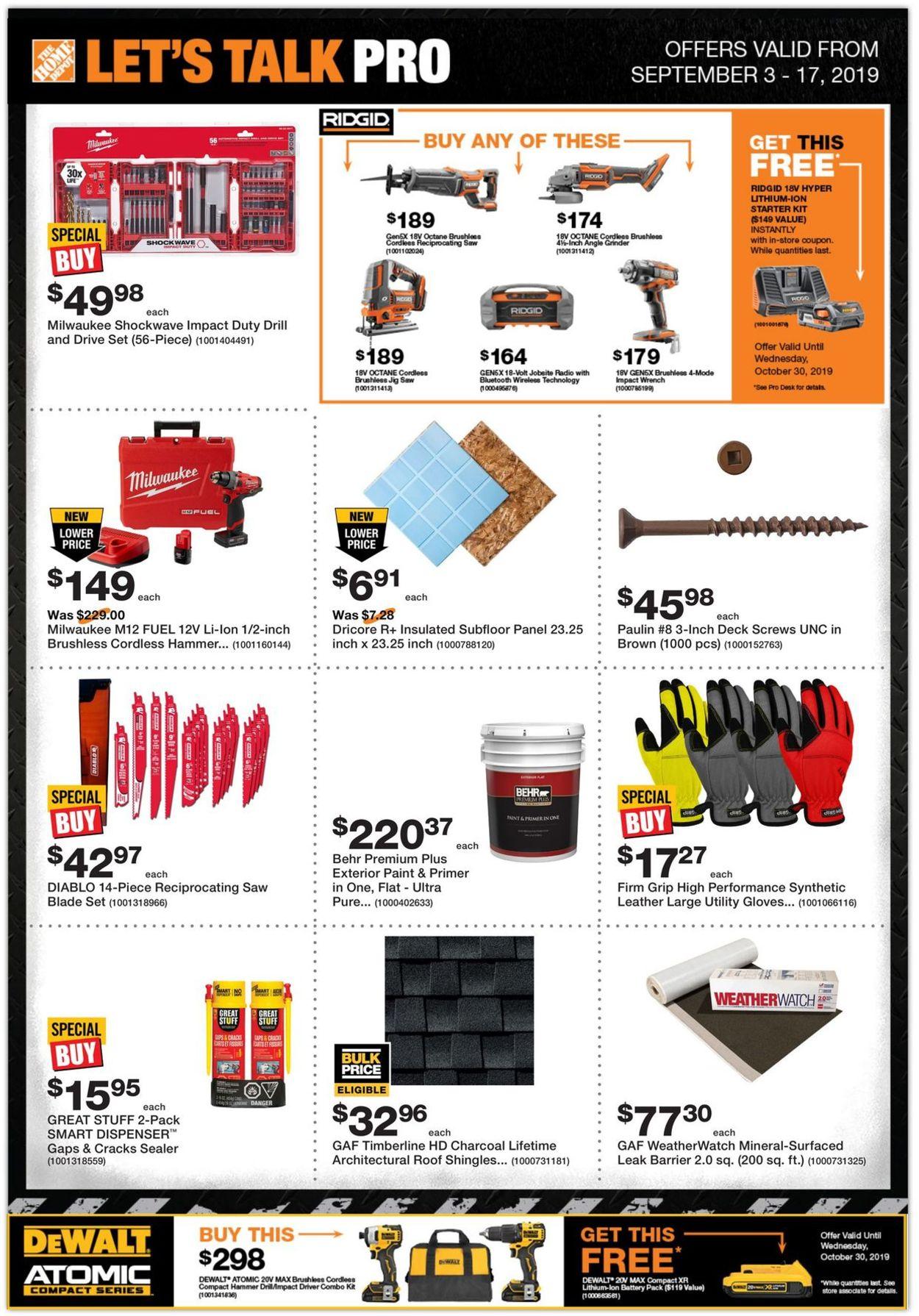Home Depot Flyer - 09/03-09/17/2019