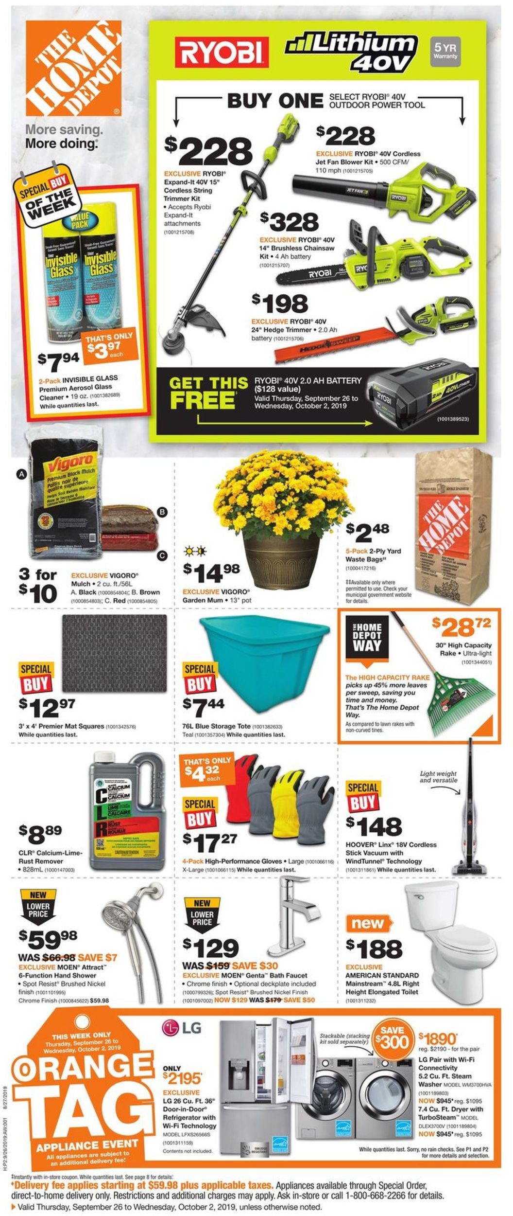 Home Depot Flyer - 09/26-10/02/2019