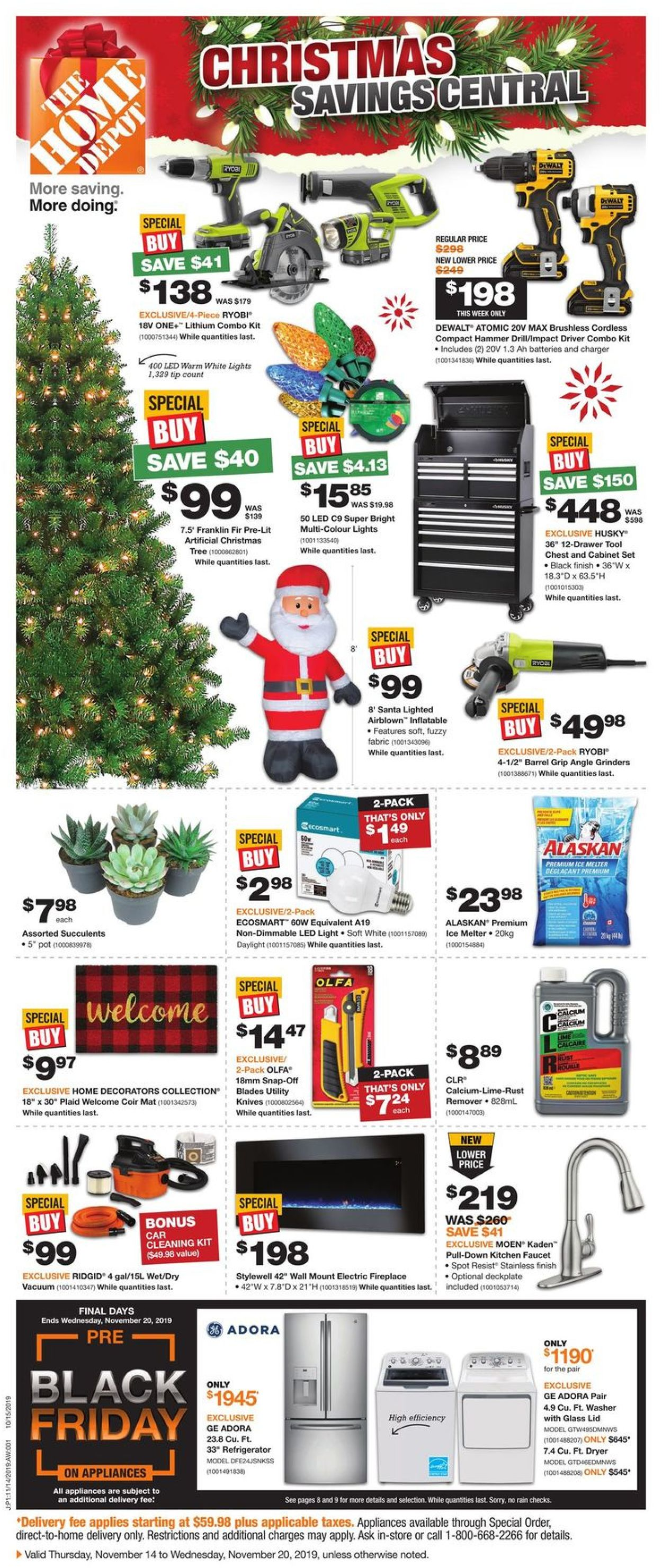 Home Depot - PRE BLACK FRIDAY 2019 & Christmas Savings Flyer Flyer - 11/14-11/20/2019