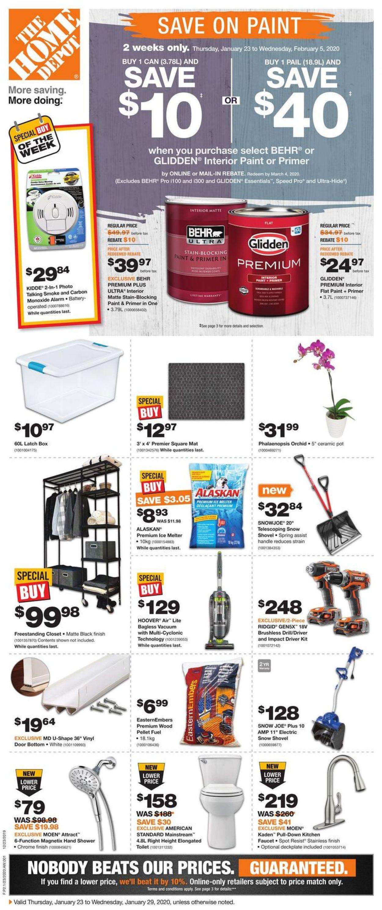 Home Depot Flyer - 01/23-01/29/2020