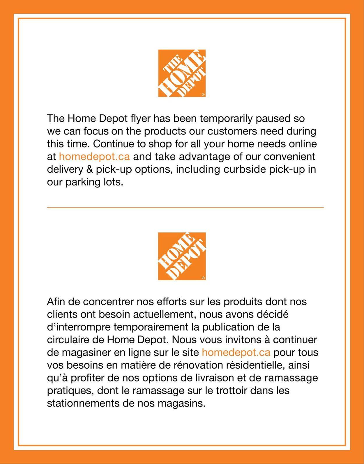Home Depot Flyer - 03/31-04/15/2020