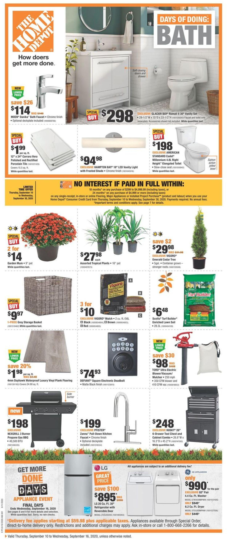 Home Depot Flyer - 09/10-09/16/2020