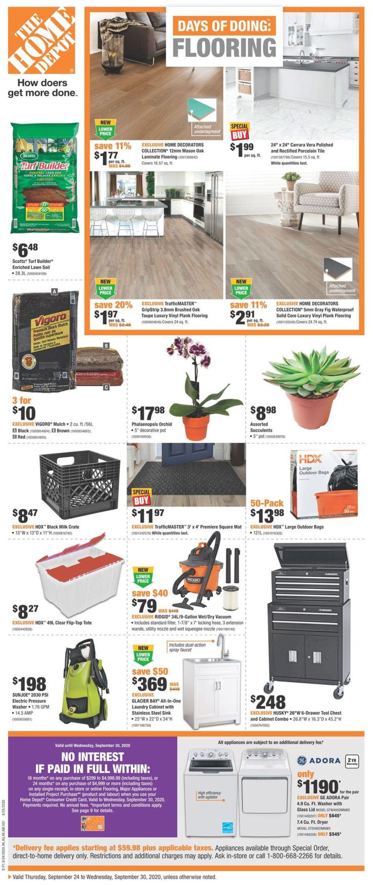 Home Depot Flyer - 09/24-09/30/2020