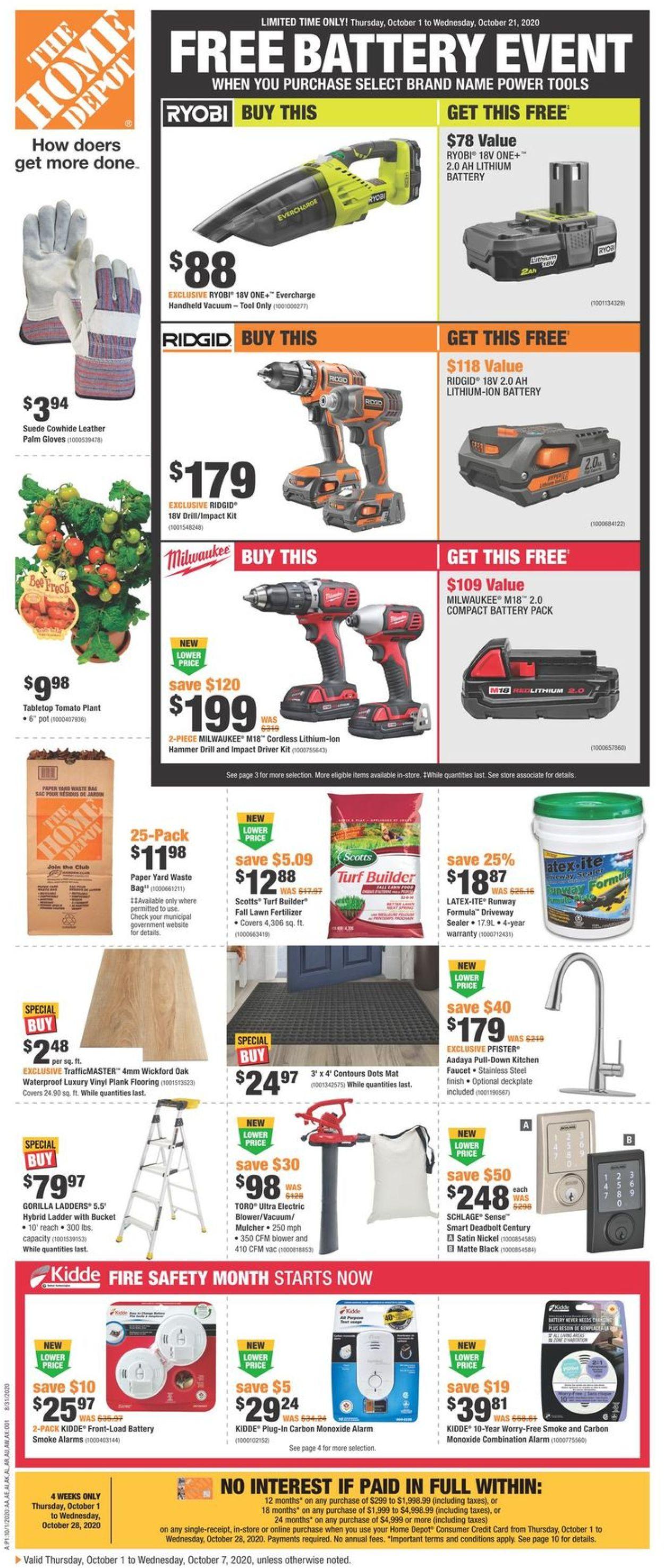 Home Depot Flyer - 10/01-10/28/2020