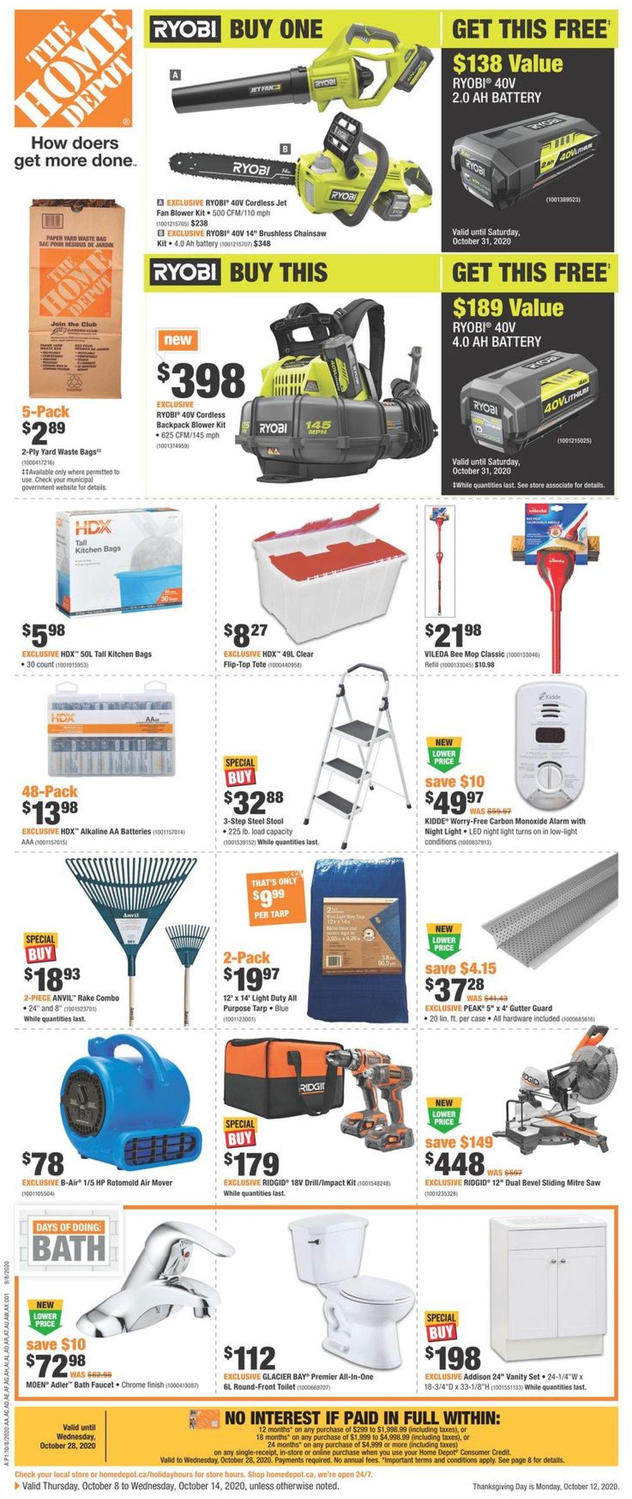 Home Depot Flyer - 10/08-10/14/2020