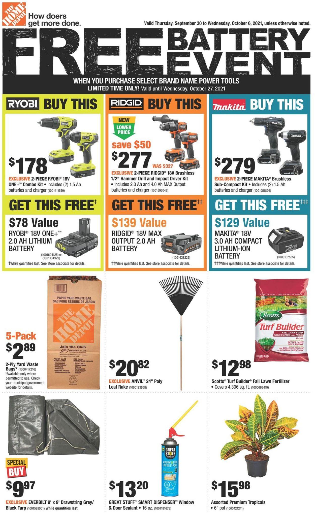 Home Depot Flyer - 09/30-10/06/2021