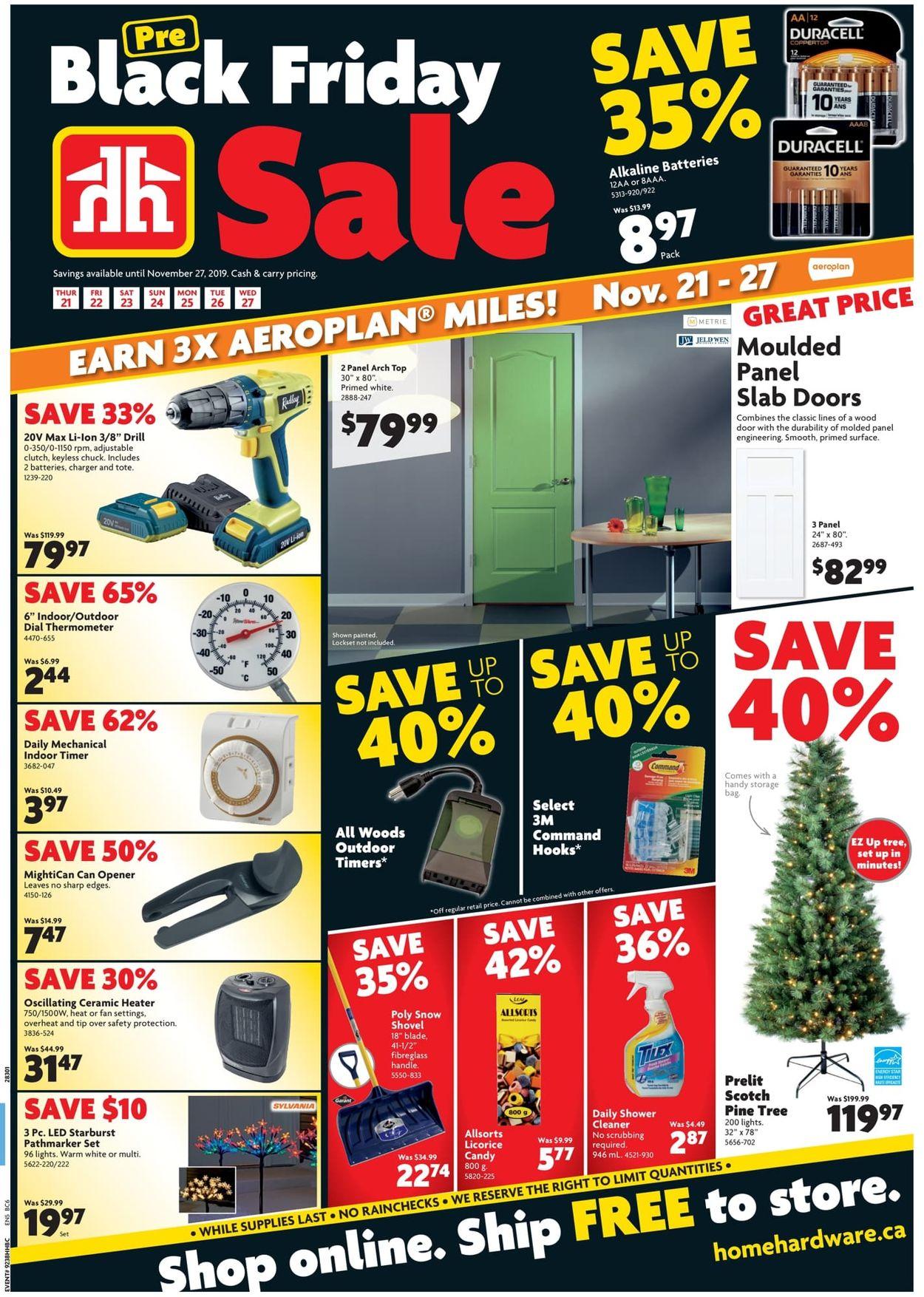 Home Hardware BLACK FRIDAY SALE! Flyer - 11/21-11/27/2019