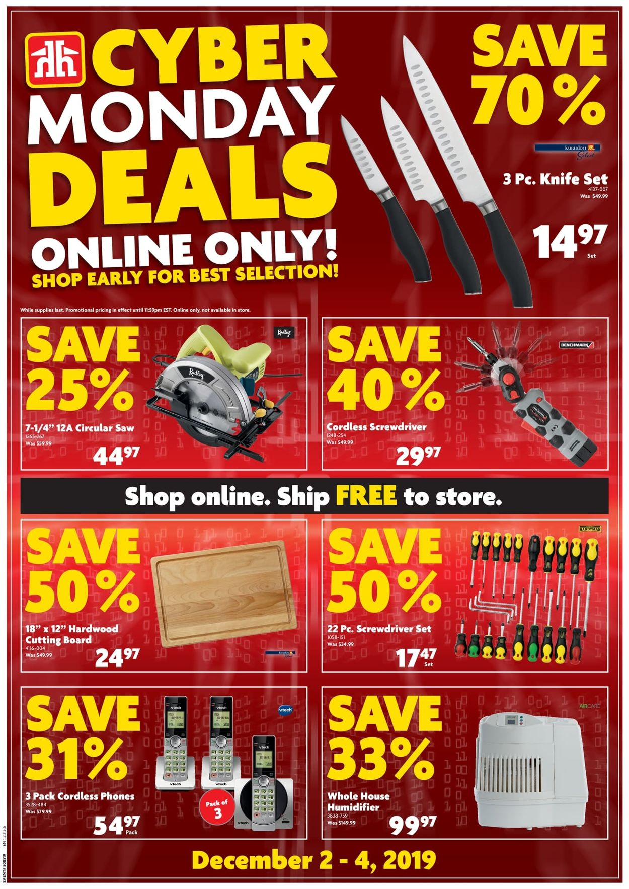 Home Hardware CYBER MONDAY DEALS 2019 Flyer - 12/02-12/04/2019