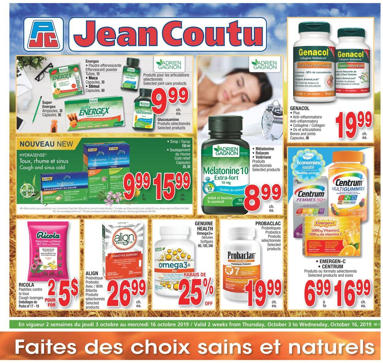 Jean Coutu Flyer - 10/03-10/16/2019