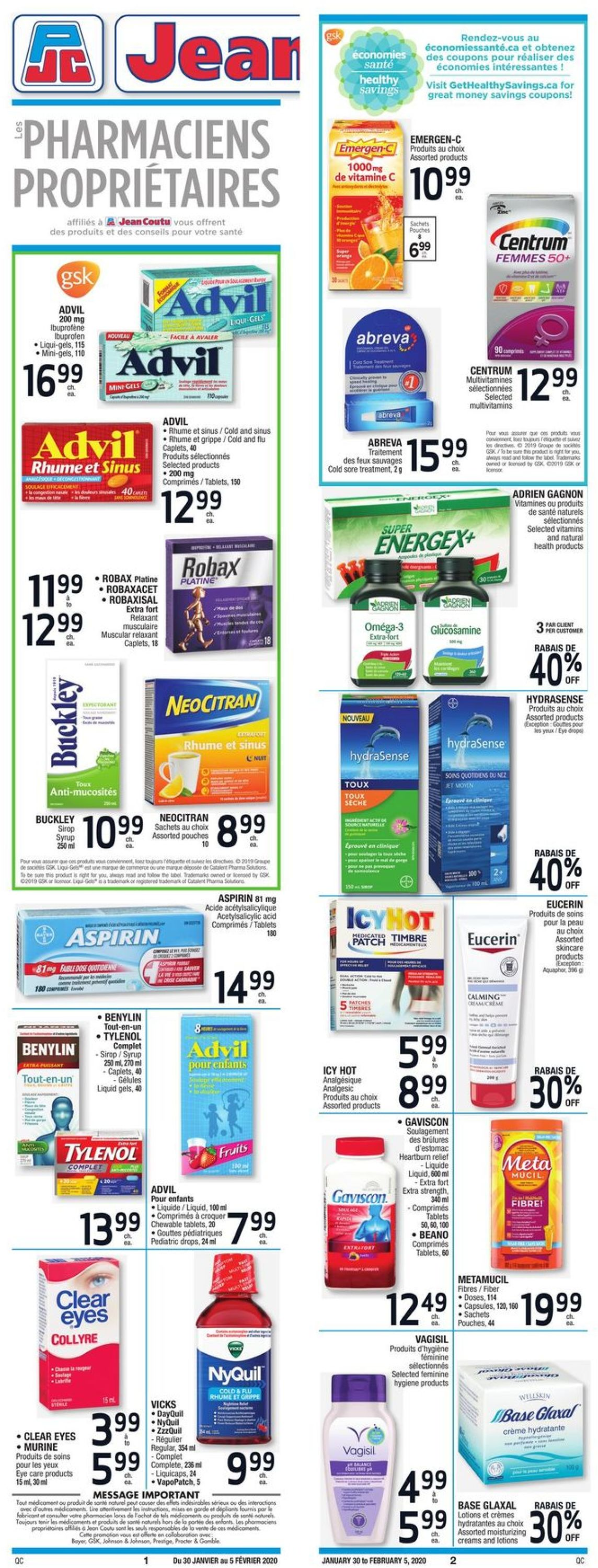 Jean Coutu Flyer - 01/30-02/05/2020