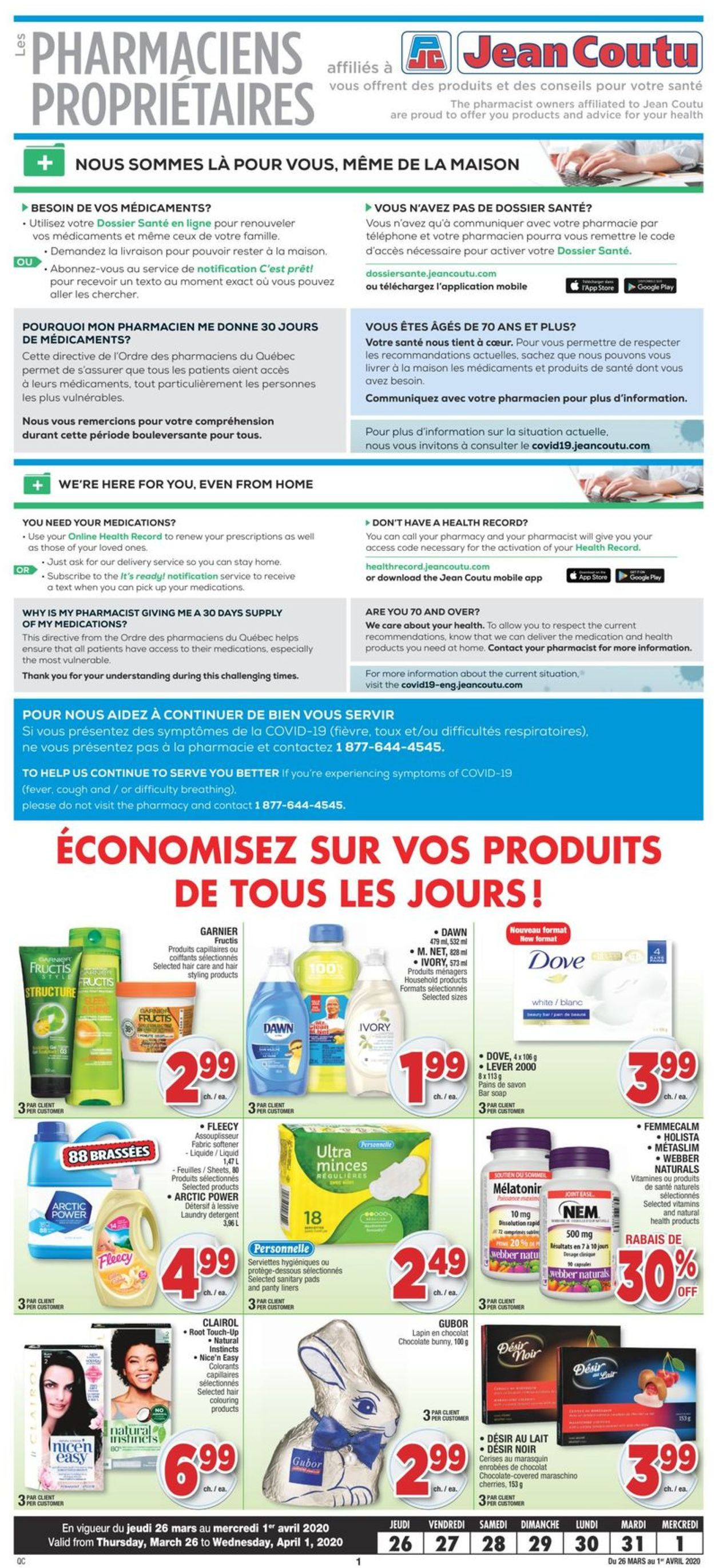 Jean Coutu Flyer - 03/26-04/01/2020