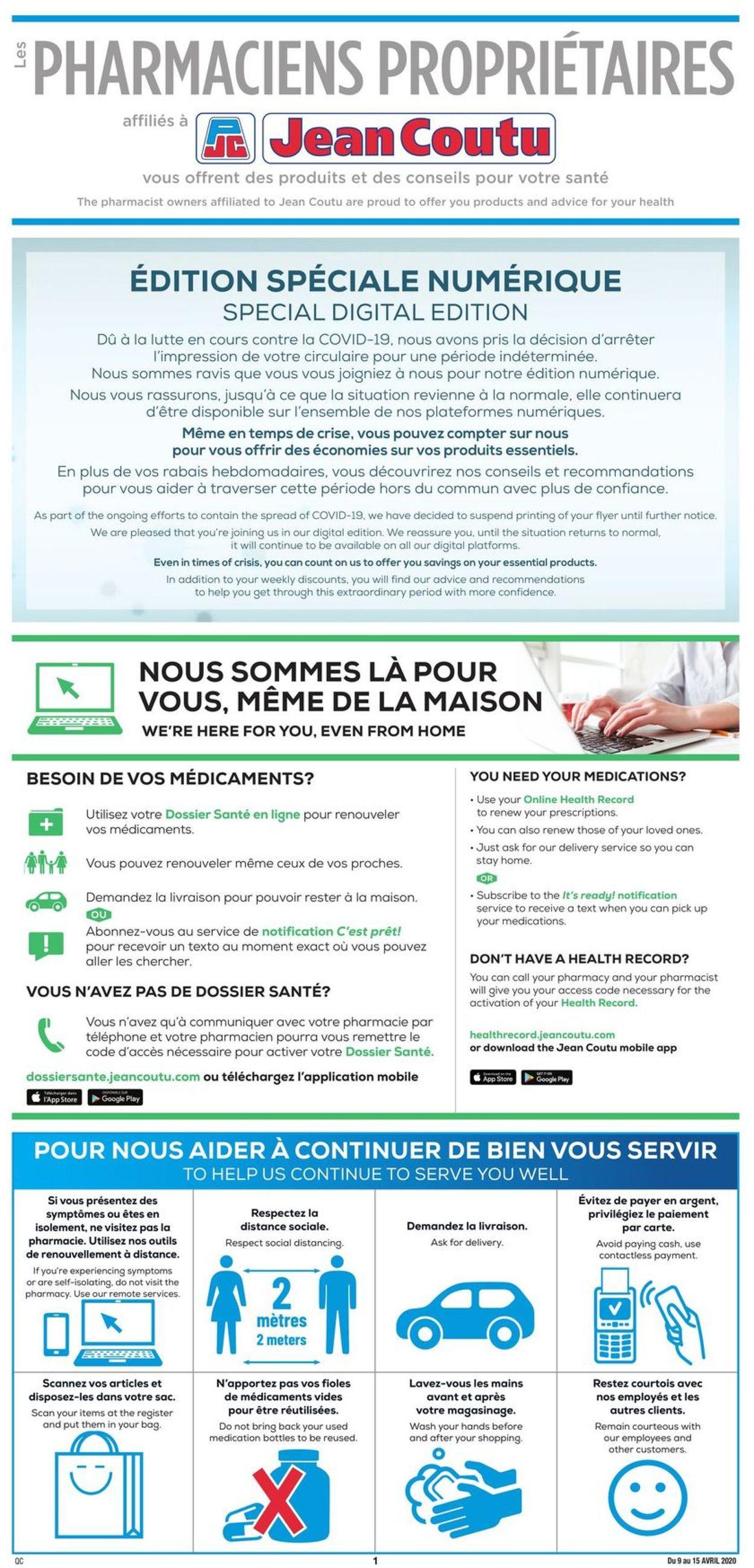 Jean Coutu Flyer - 04/09-04/15/2020