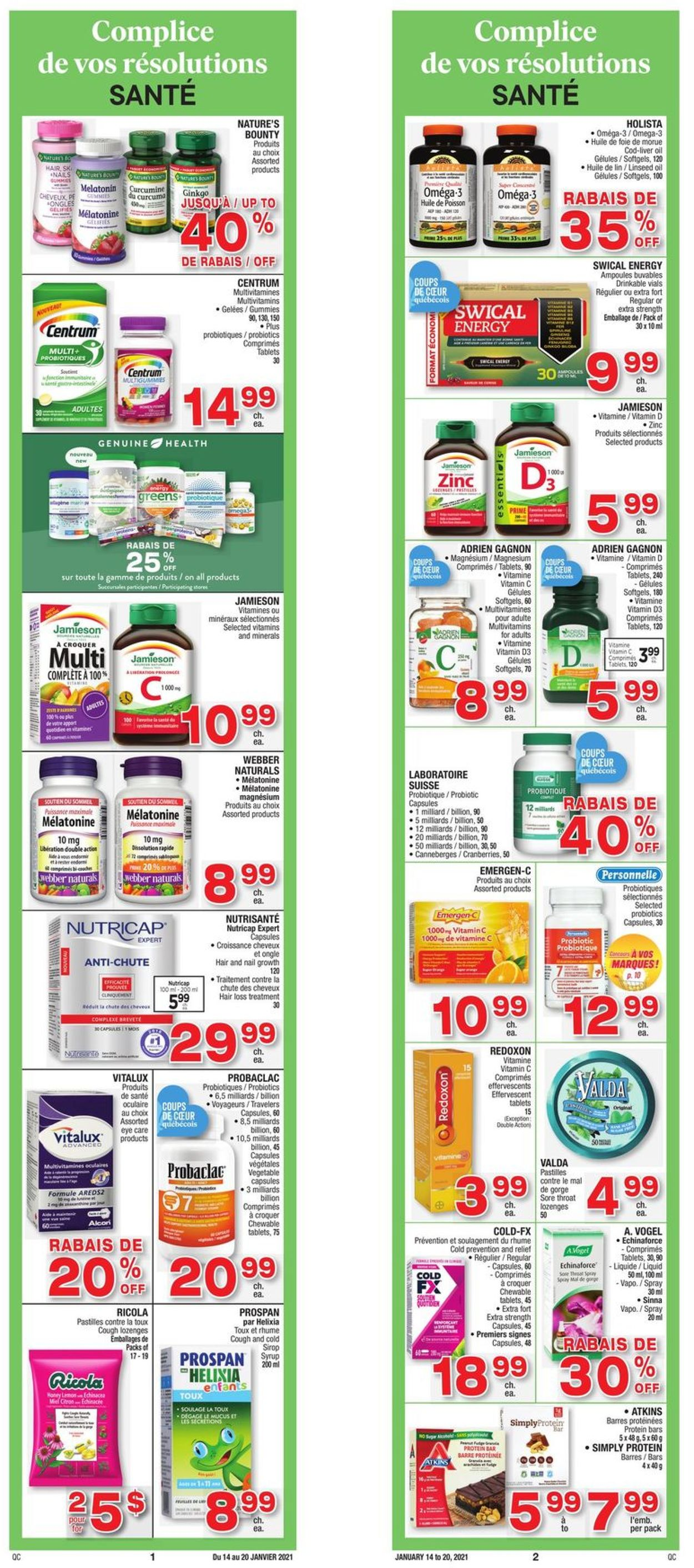 Jean Coutu Flyer - 01/14-01/20/2021