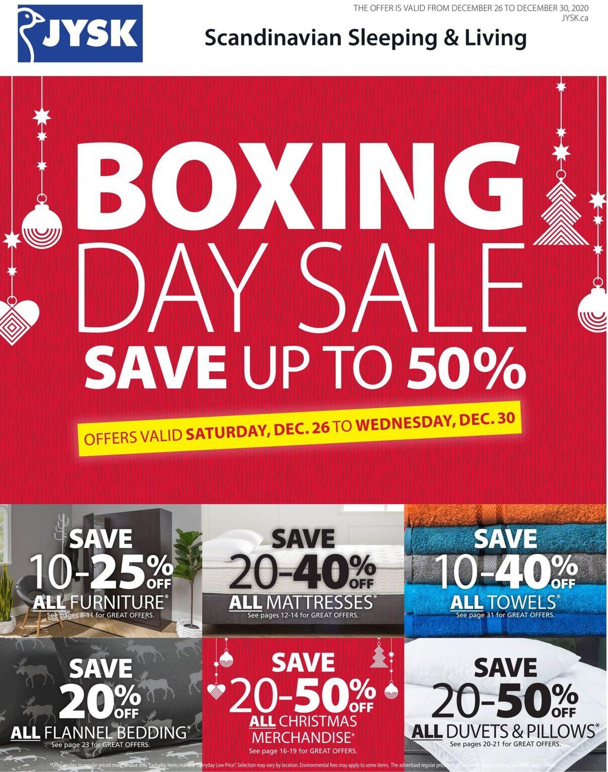 JYSK Boxing Day Sale Flyer - 12/26-12/30/2020