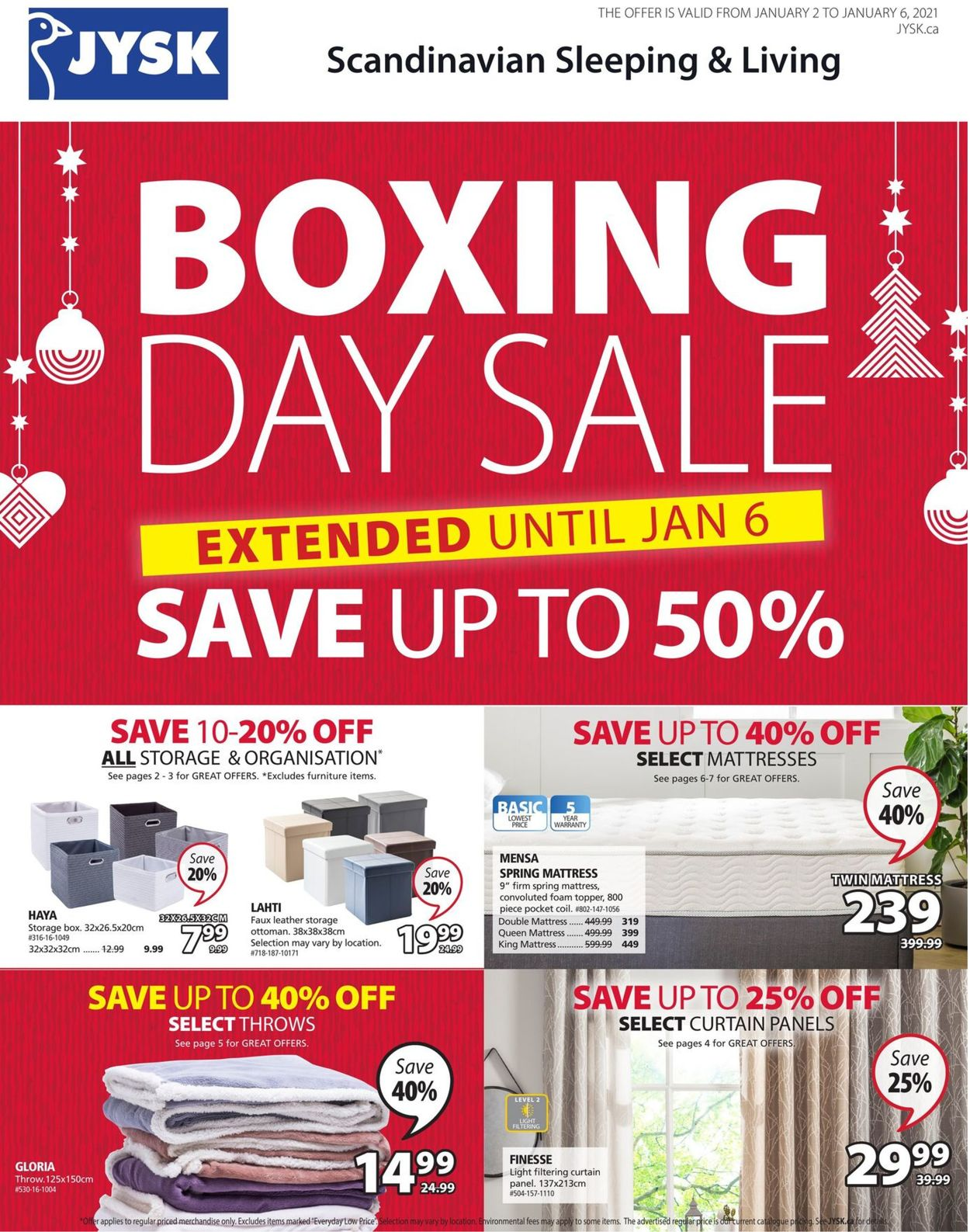 JYSK - Boxing Day Sale 2020/2021 Flyer - 01/02-01/06/2021