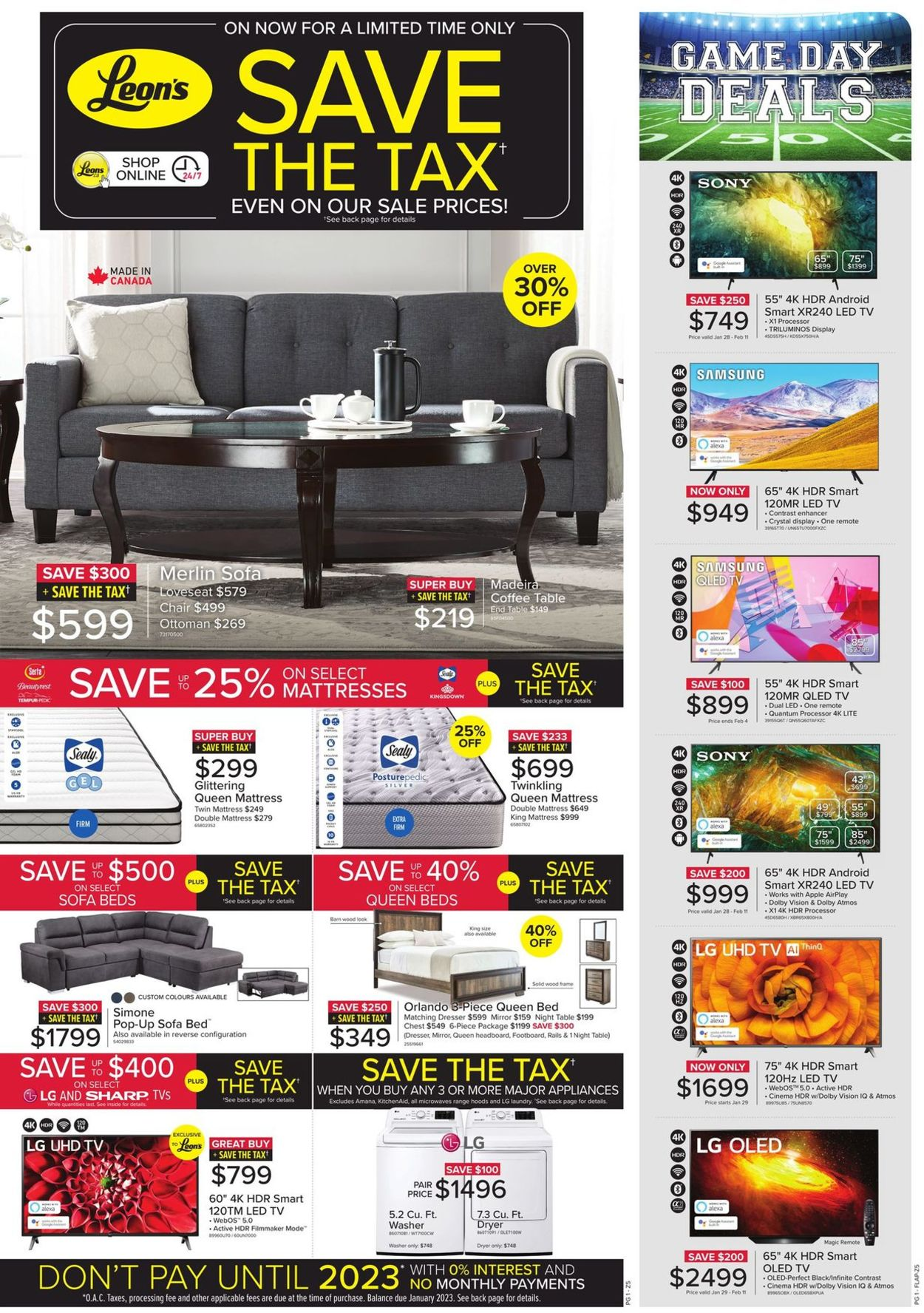 Leon's - Save The Tax Flyer - 01/28-02/24/2021