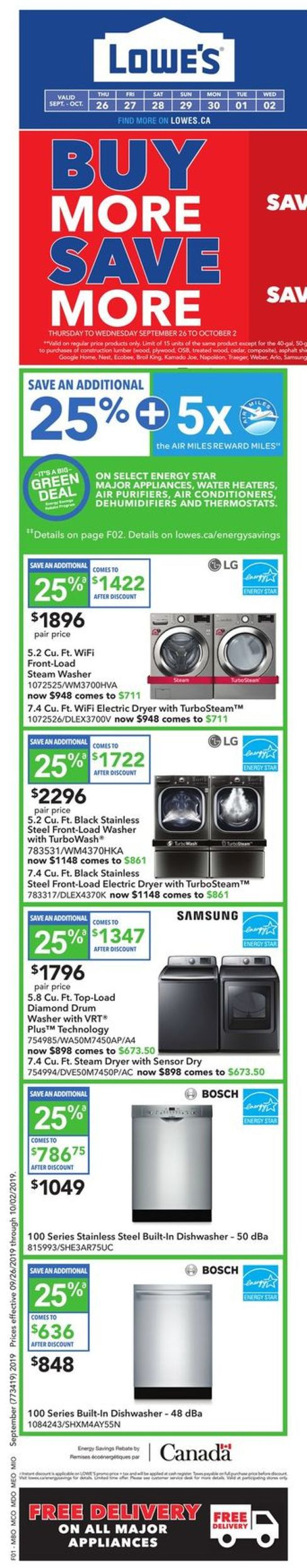 Lowes Flyer - 09/26-10/02/2019