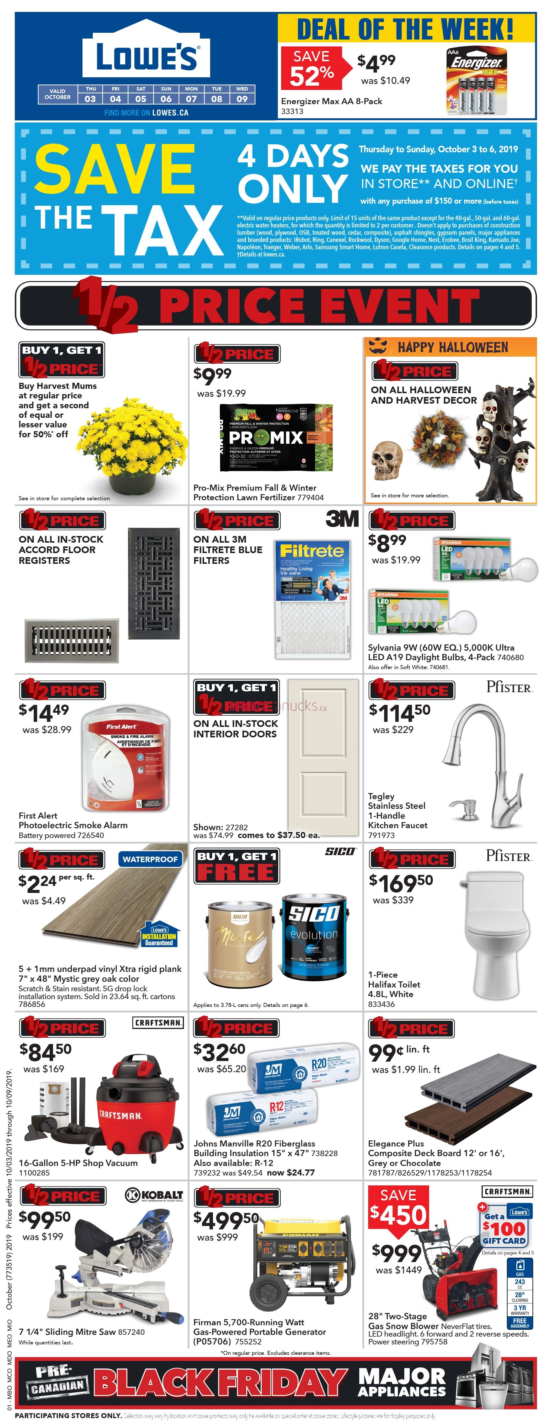 Lowes Flyer - 10/03-10/09/2019