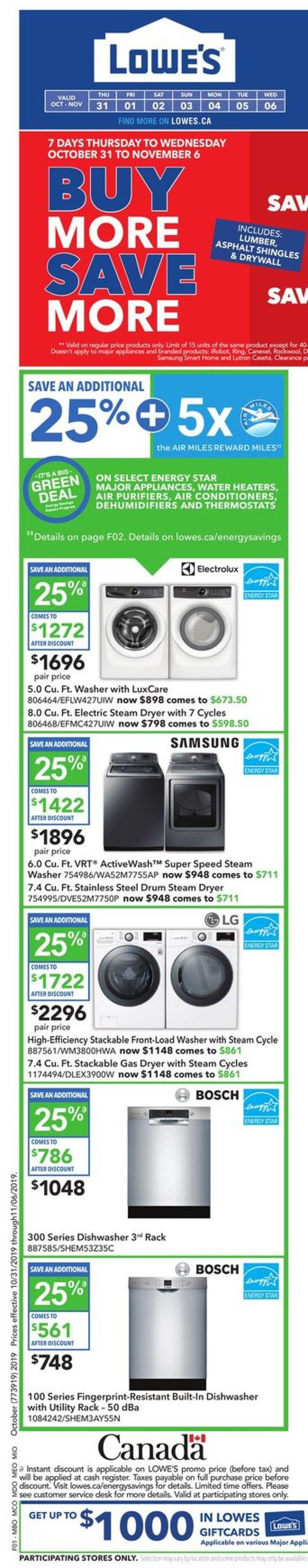 Lowes Flyer - 10/31-11/06/2019