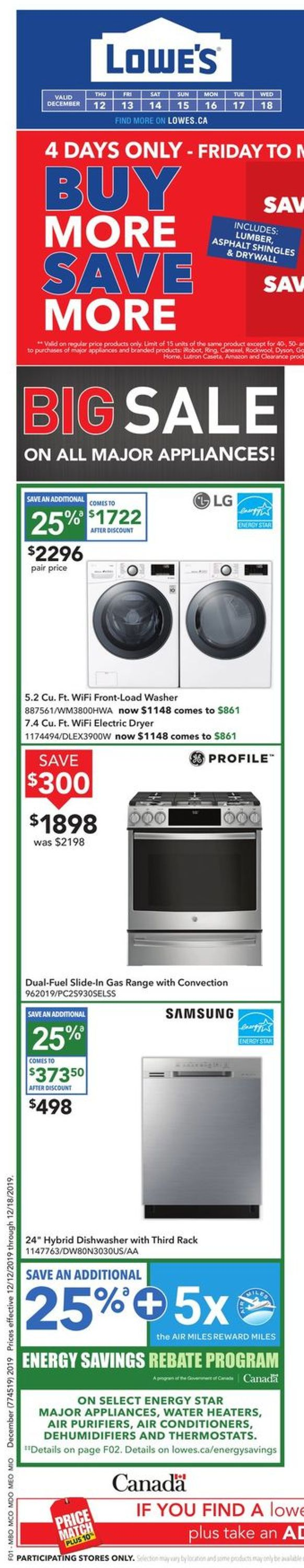 Lowes - Holidays 2019 Sale Flyer - 12/12-12/18/2019