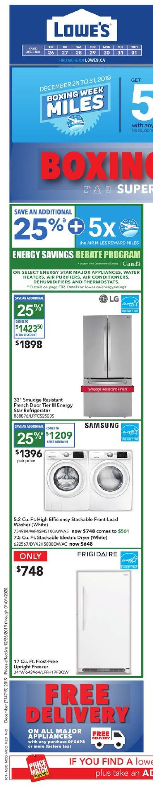 Lowes - Boxing Week Sale