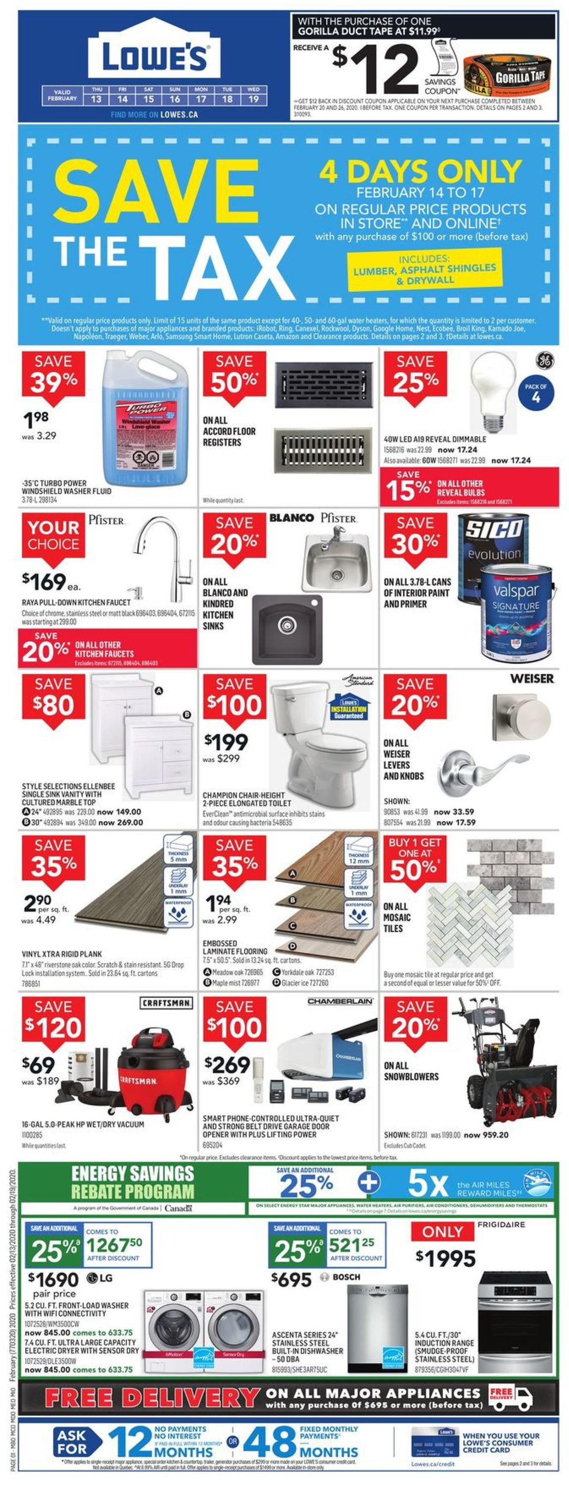 Lowes Flyer - 02/13-02/19/2020