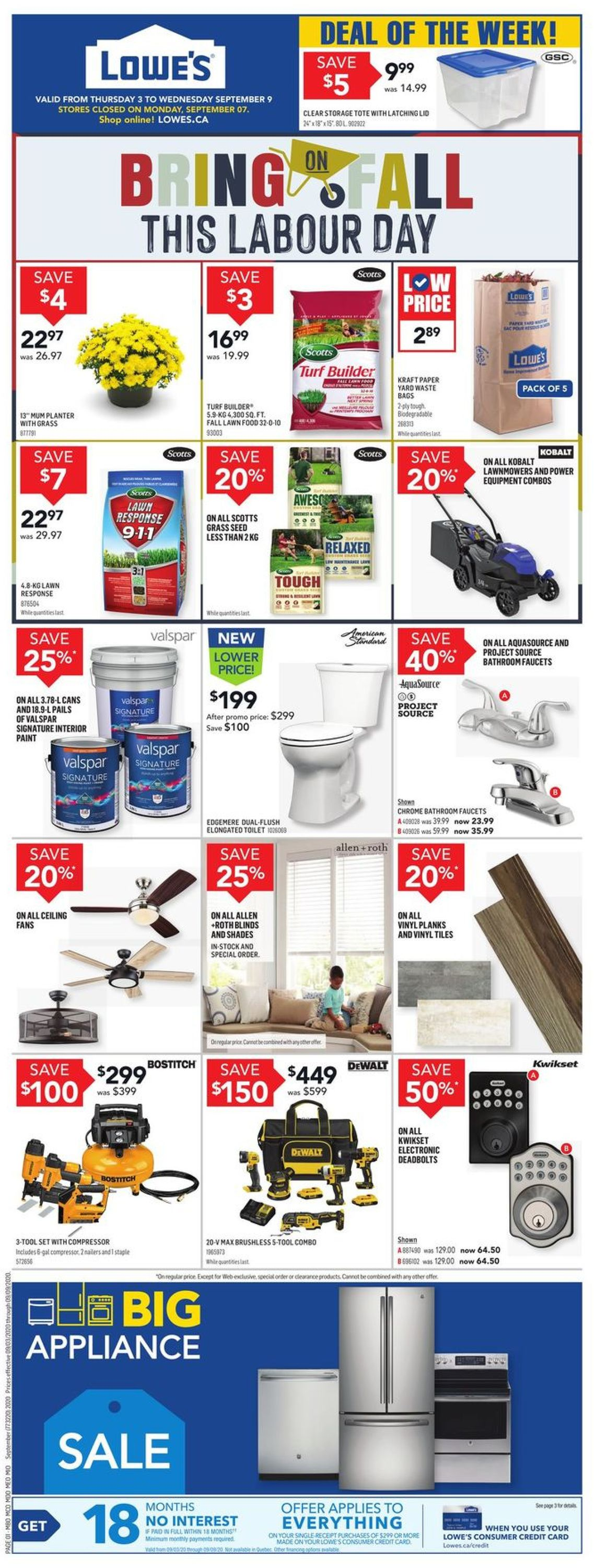 Lowes Flyer - 09/03-09/09/2020