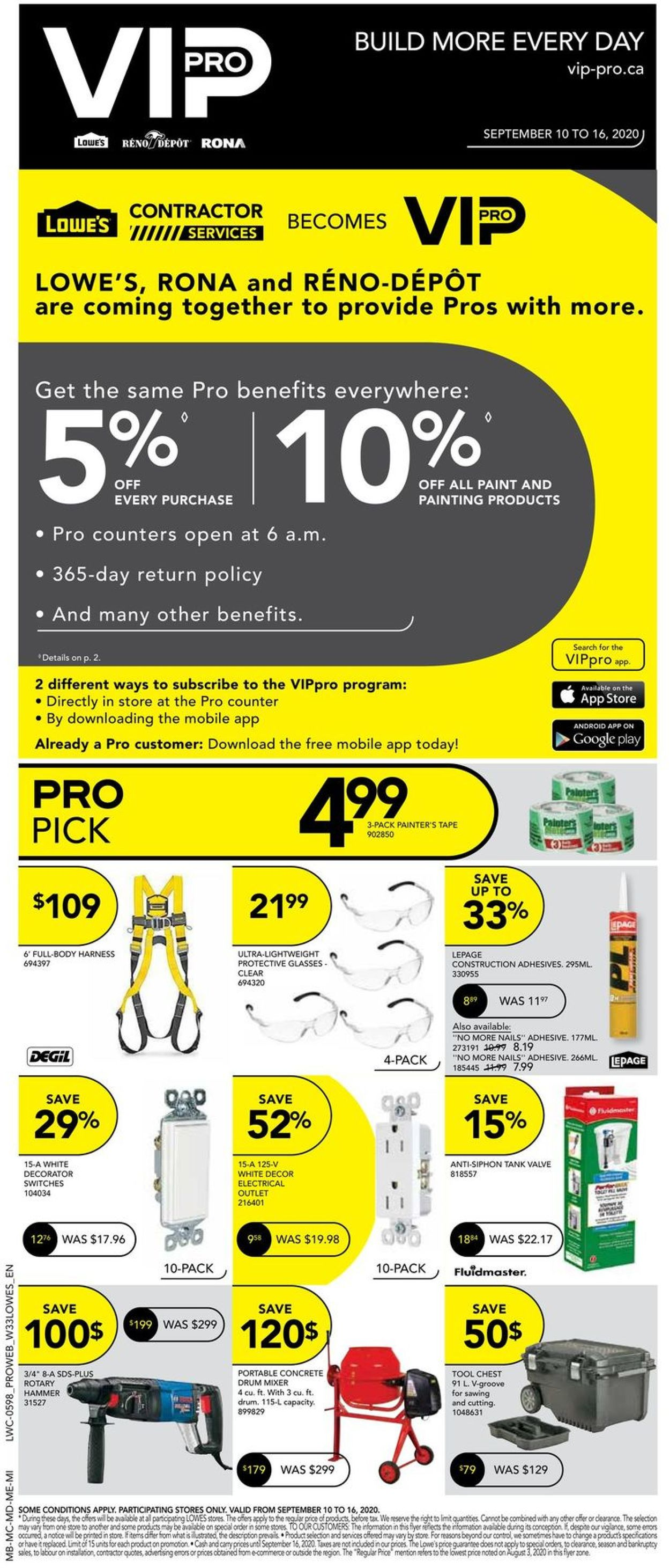 Lowes Flyer - 09/10-09/16/2020