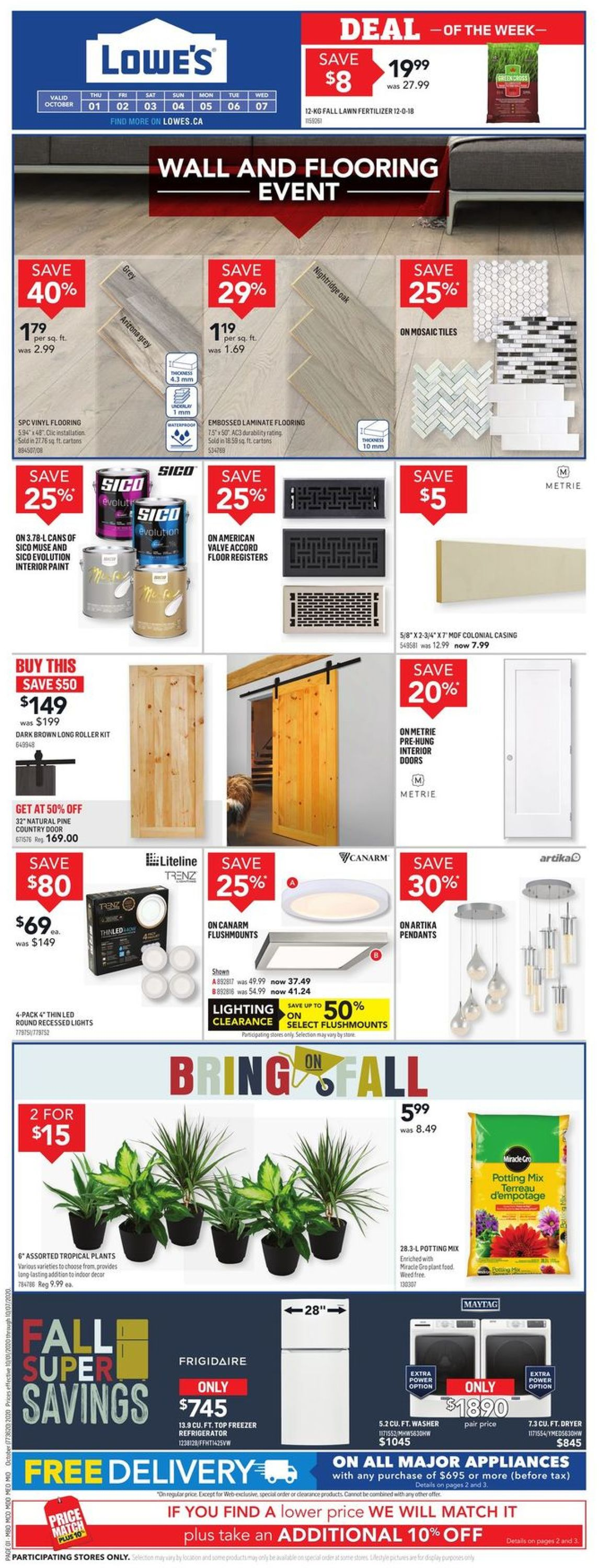 Lowes Flyer - 10/01-10/07/2020