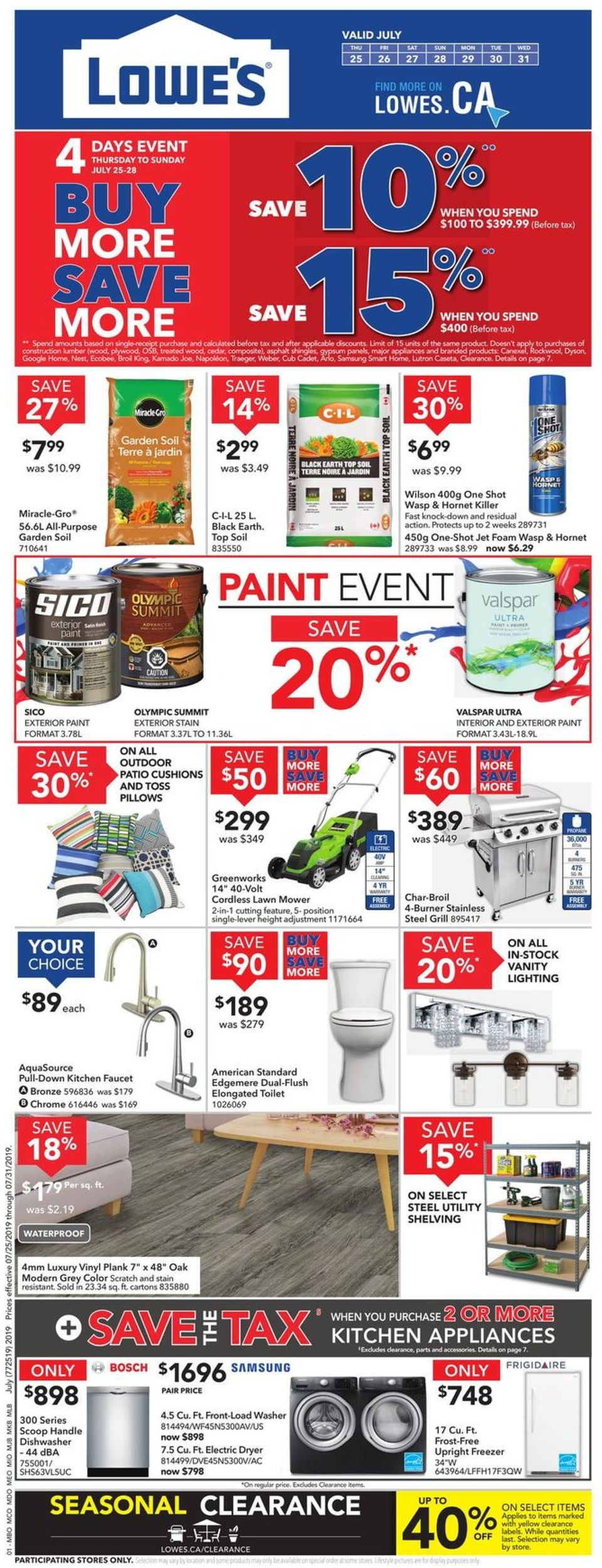 Lowes Flyer - 07/25-07/31/2019