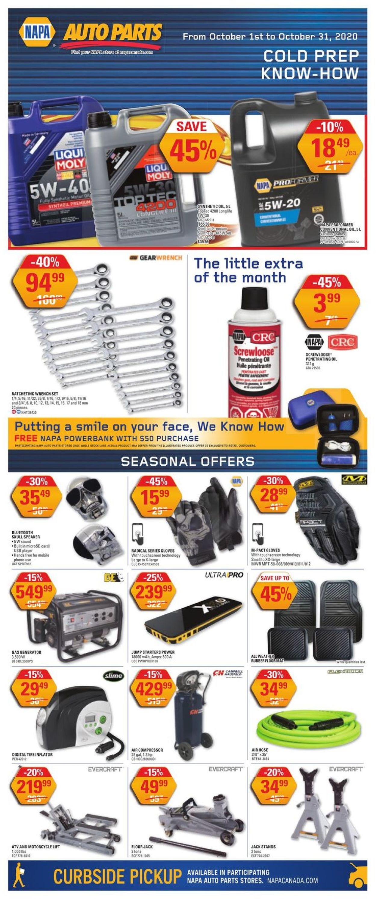 NAPA Auto Parts Flyer - 10/01-10/31/2020