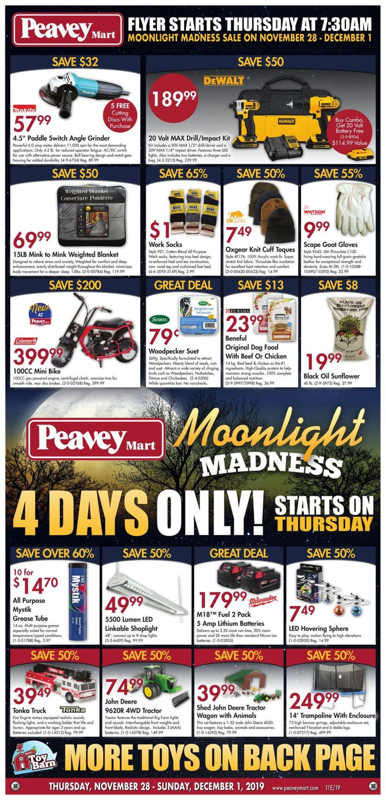 Peavey Mart - MOONLIGHT MADNESS Flyer - 11/28-12/01/2019