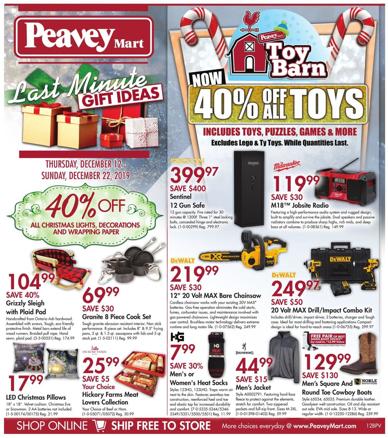 Peavey Mart CHRISTMAS GIFT IDEAS 2019 Flyer - 12/12-12/22/2019