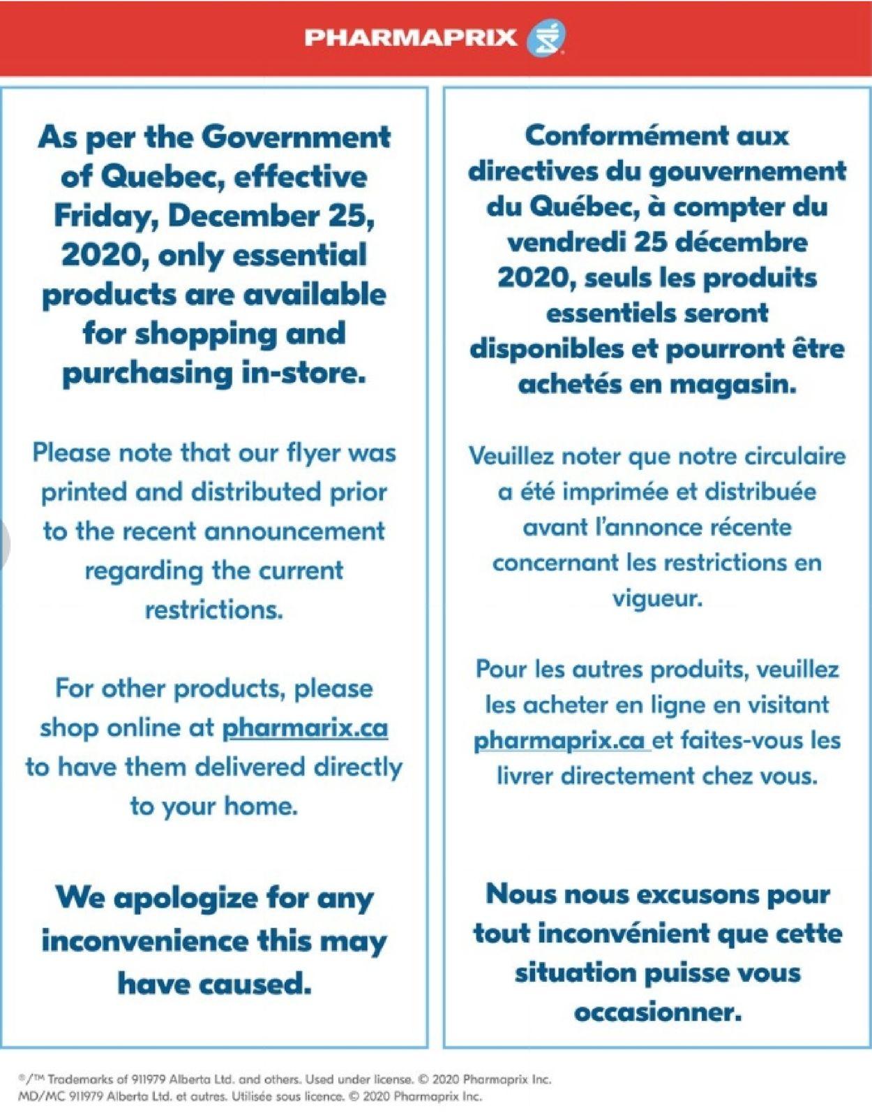 Pharmaprix Flyer - 12/26-12/31/2020