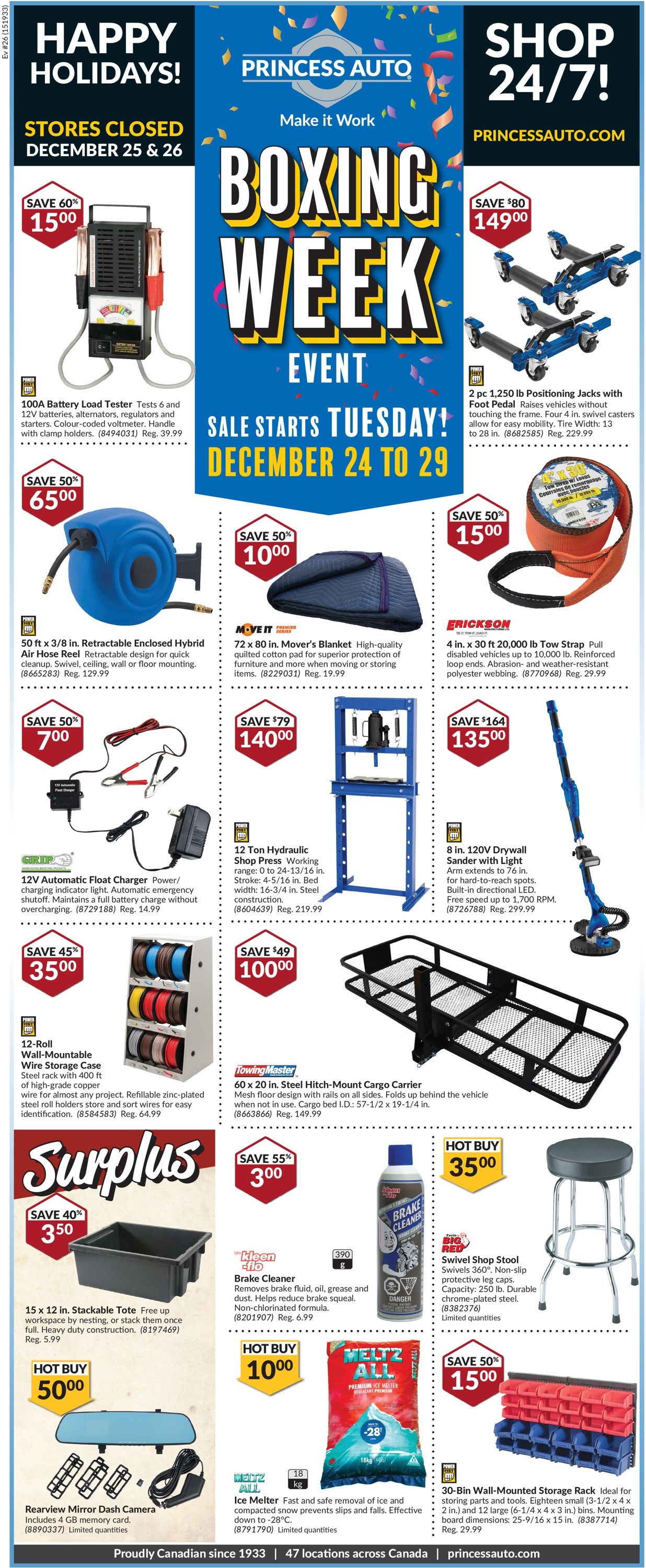 Princess Auto - Boxing Week DEALS Flyer - 12/24-12/29/2019