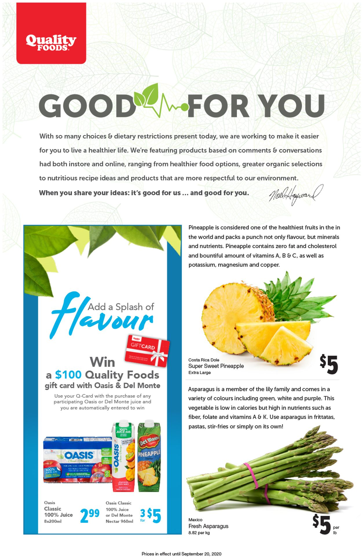 Quality Foods Flyer - 09/07-09/20/2020