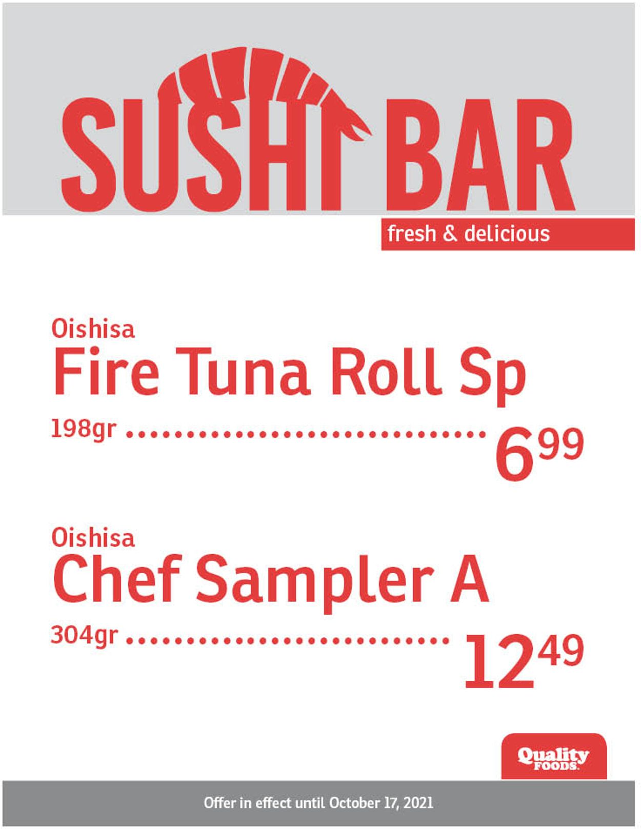 Quality Foods Flyer - 10/11-10/17/2021