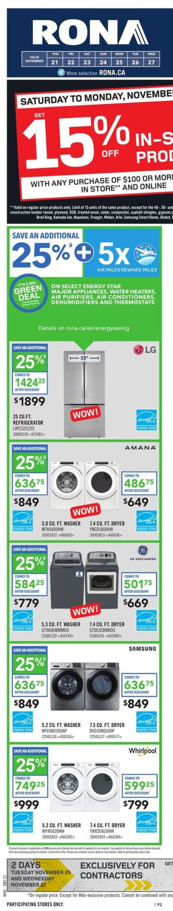 RONA BLACK FRIDAY 2019 FLYER Flyer - 11/21-11/27/2019