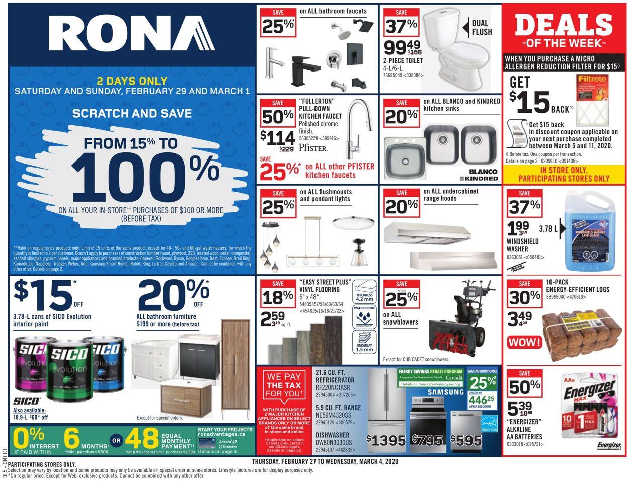 RONA Flyer - 02/27-03/04/2020