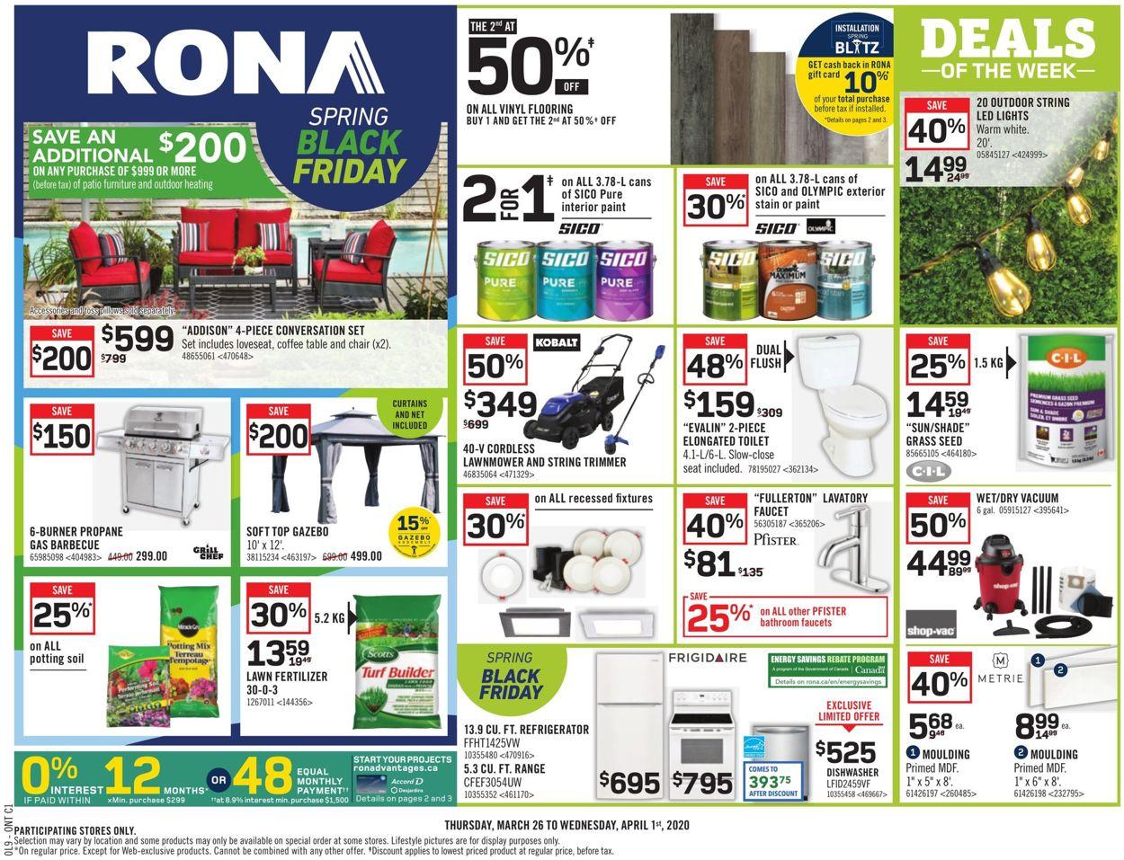 RONA Flyer - 03/26-04/01/2020