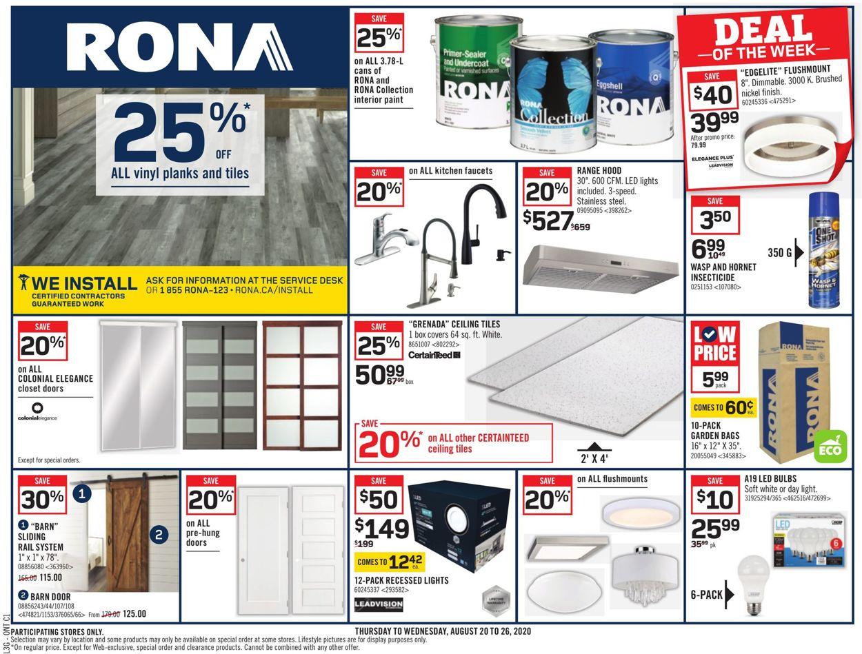 RONA Flyer - 08/20-08/26/2020