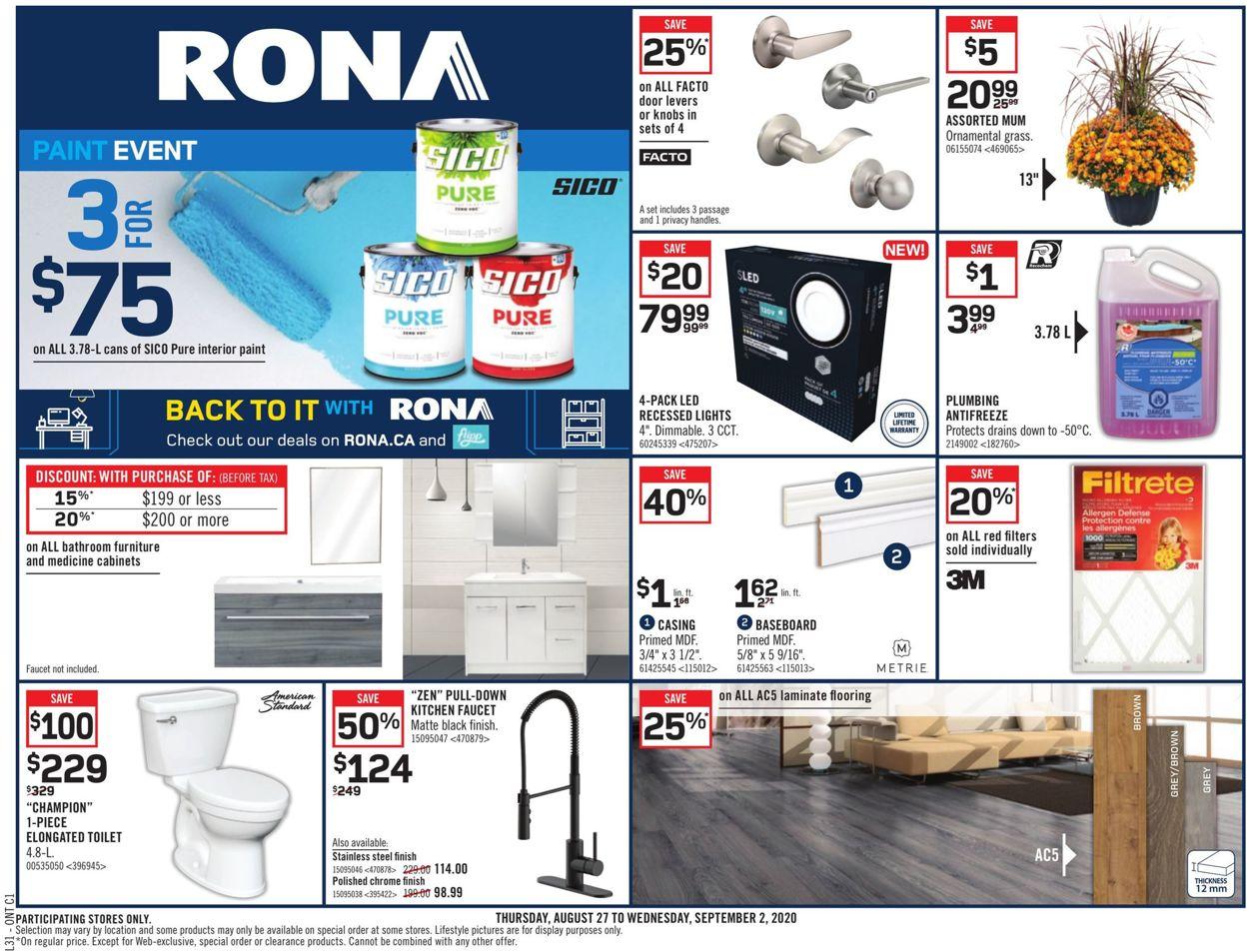 RONA Flyer - 08/27-09/02/2020