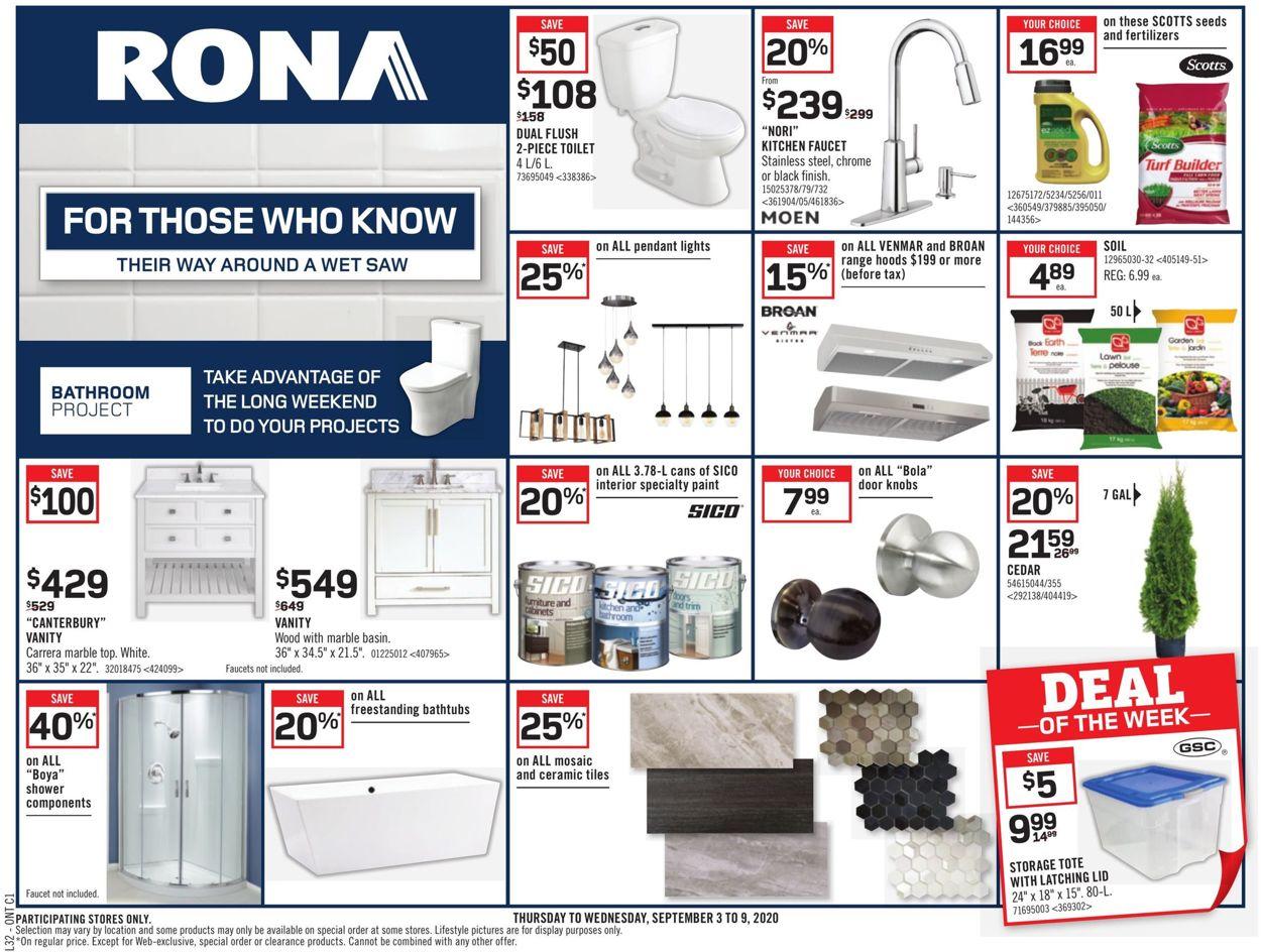 RONA Flyer - 09/03-09/09/2020