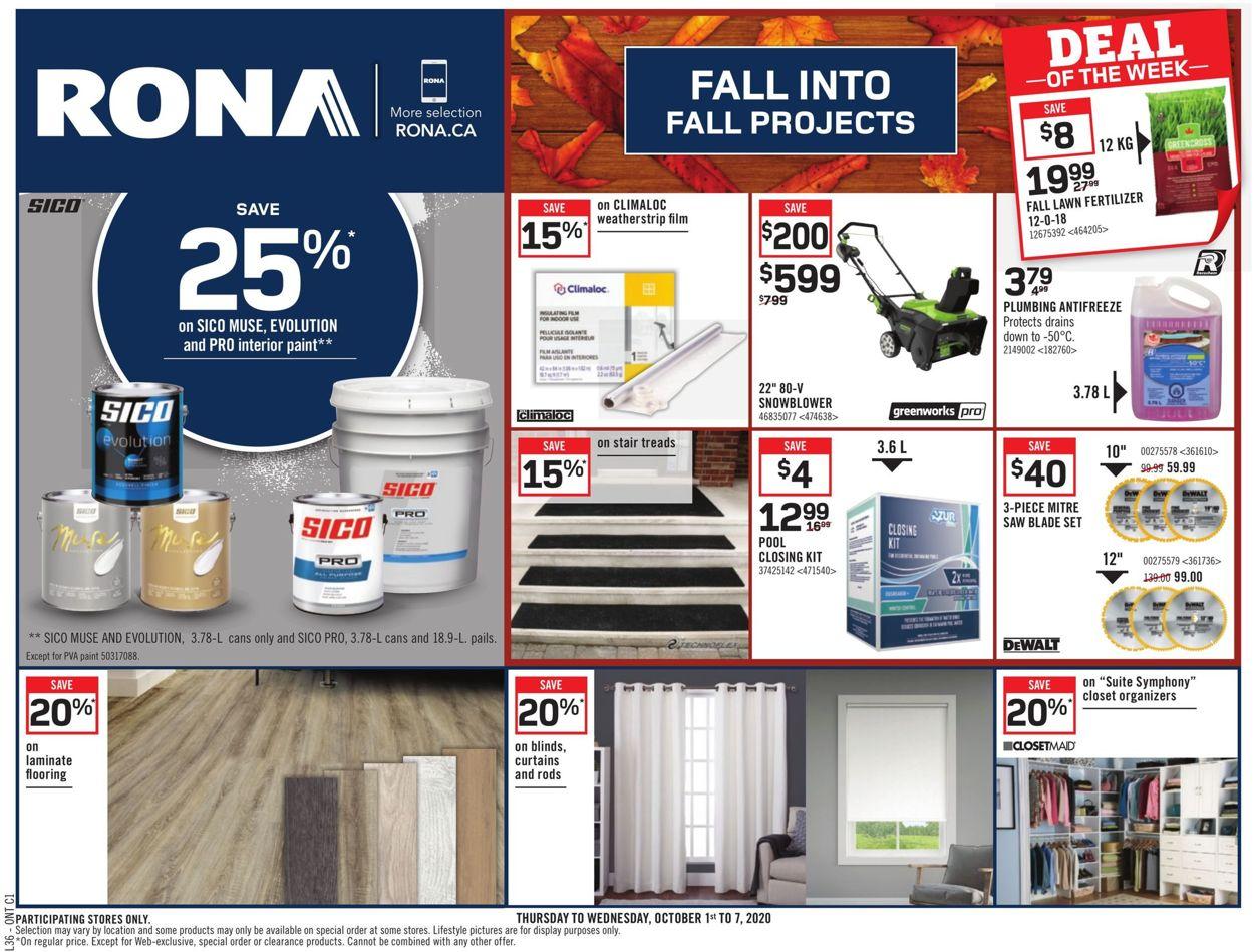 RONA Flyer - 10/01-10/07/2020