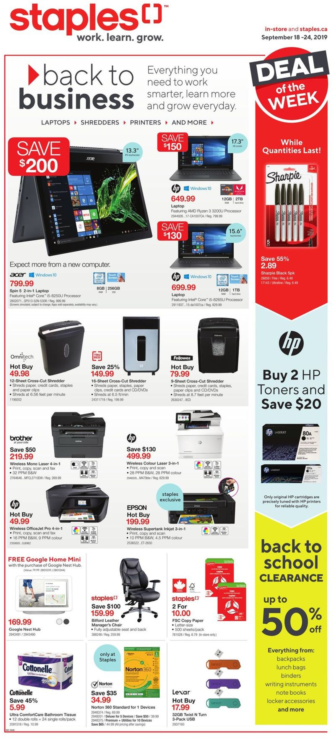 Staples Flyer - 09/18-09/24/2019