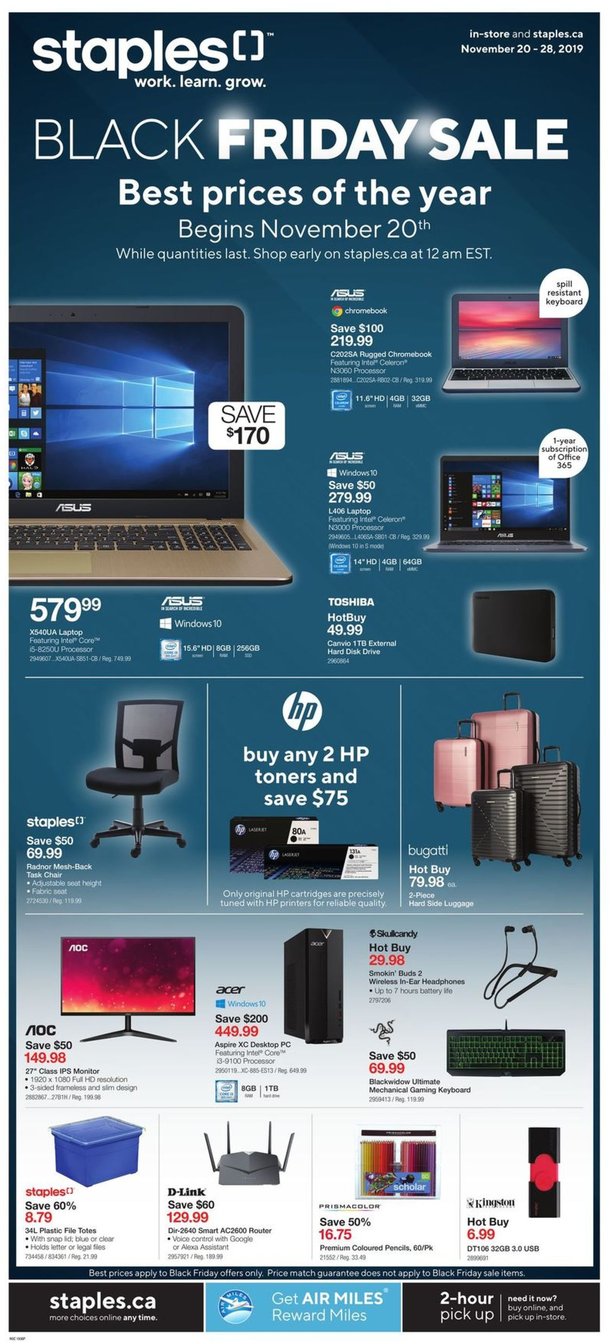 Staples BLACK FRIDAY SALE 2019 Flyer - 11/20-11/28/2019