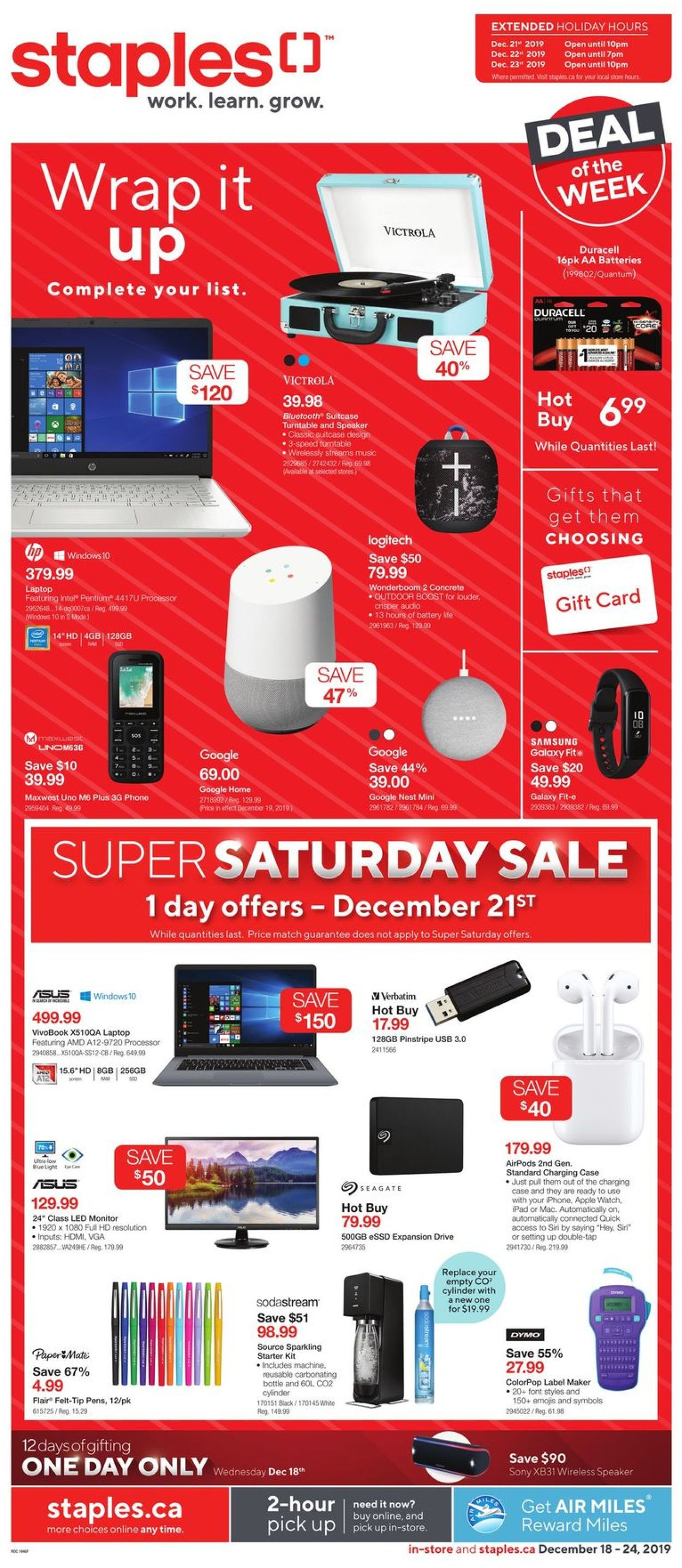Staples Holiday Flyer 2019 Flyer - 12/18-12/24/2019